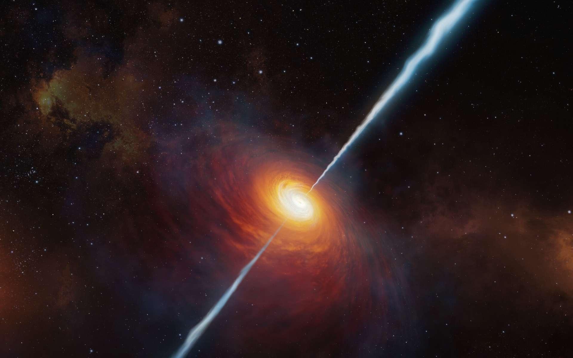 Cette vue artiste montre à quoi devait ressembler le lointain quasar P172+18 et ses jets radio. À ce jour (début 2021), c'est le quasar le plus lointain avec des jets radio jamais trouvé. Il a été étudié grâce au Very Large Telescope de l'ESO. Il est si éloigné que la lumière qui en provient a voyagé pendant environ 13 milliards d'années pour nous atteindre : nous le voyons tel qu'il était lorsque l'Univers n'avait que 780 millions d'années environ. © ESO, M. Kornmesser