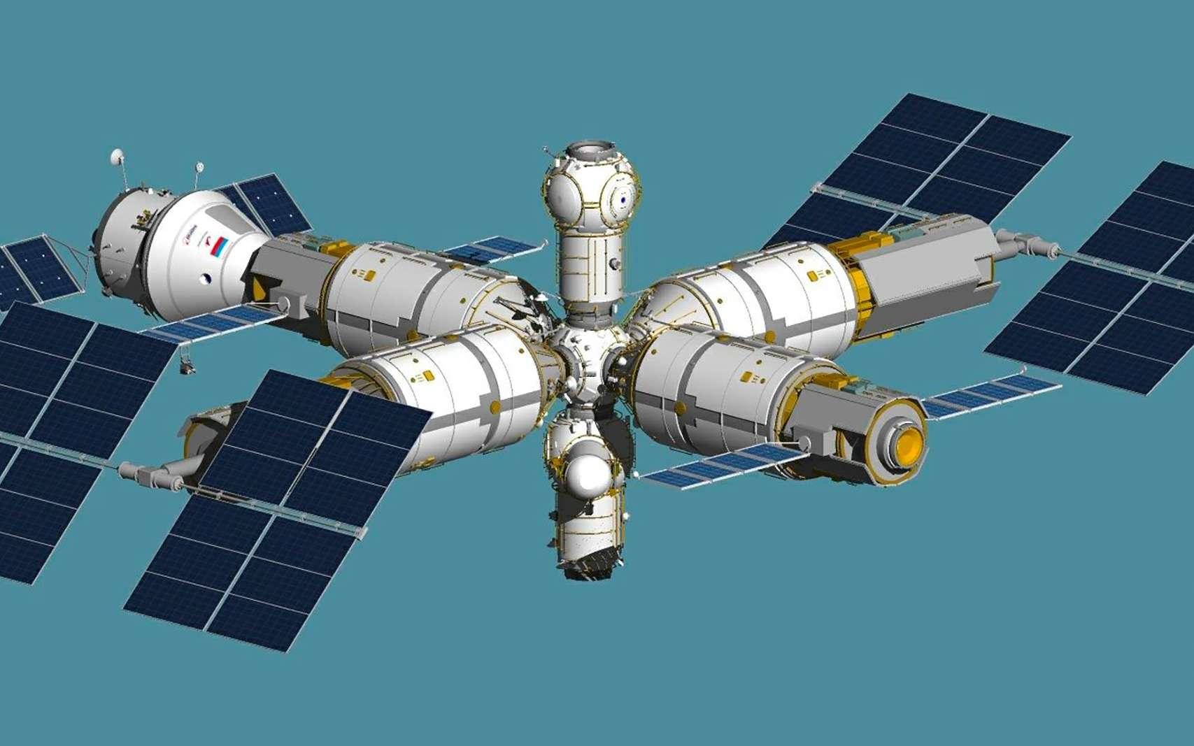 Vue d'artiste de la station spatiale russe Ross dont le premier module pourrait être lancé dès 2025. © Homem Do Espaco