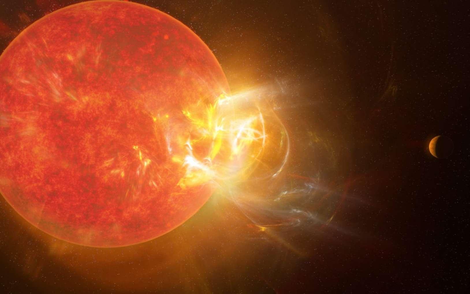 Vision artistique de la violente éruption stellaire de Proxima Centauri découverte par des scientifiques en 2019 à l'aide de neuf télescopes dont l'Atacama Large Millimeter/submillimeter Array (Alma). © NRAO, S. Dagnello