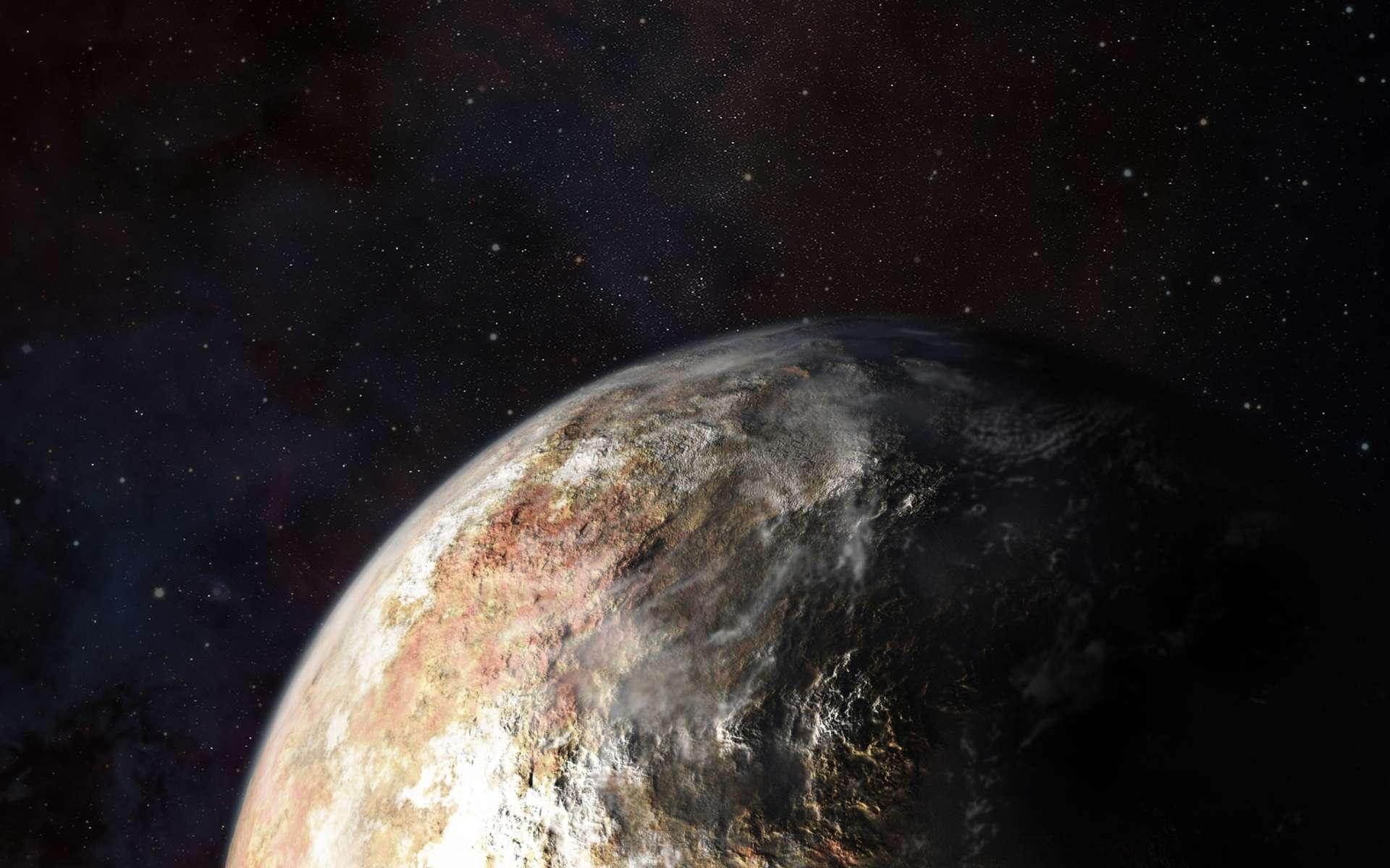 La réalité sera-t-elle à la hauteur de cette vision d'artiste de Pluton ? Il faudra peut-être attendre 2016 pour en être sûr car la sonde New Horizons mettra du temps pour transmettre toutes les données qu'elle va collecter le 14 juillet 2015. On devrait tout de même disposer de belles images de Pluton et Charon rapidement après cette date. On y cherchera des nuages qui pourront trahir certaines des caractéristiques des vents dans l'atmosphère de cette planète naine bien plus ténue que celle de la Terre. © JHUAPL