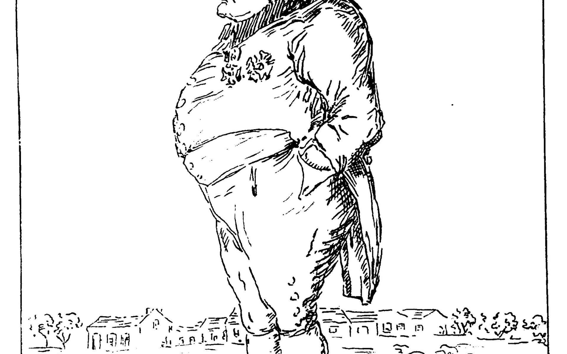 Ce dessin anonyme de Napoléon à Sainte-Hélène, réalisé le 5 juin 1820, traduit le petit moral de l'Empereur. © Kirtap, Wikimedia Commons, Domaine public