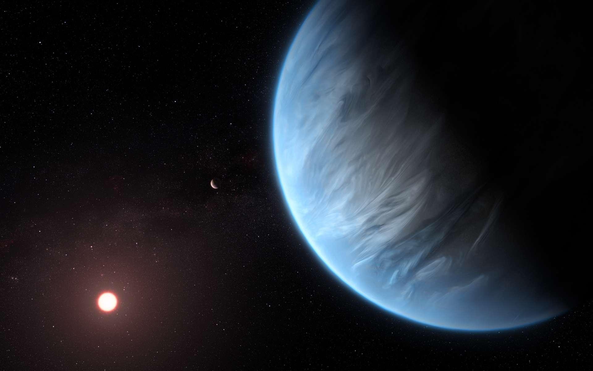 Vue d'artiste de l'exoplanète K2-18b autour de son étoile. © ESA, Hubble Science Team, M. Kornmesser