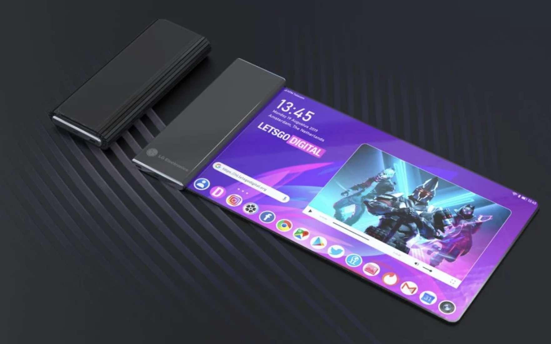 Vue d'artiste du mobile doté d'un écran enroulable issue du brevet déposé par LG. © LG