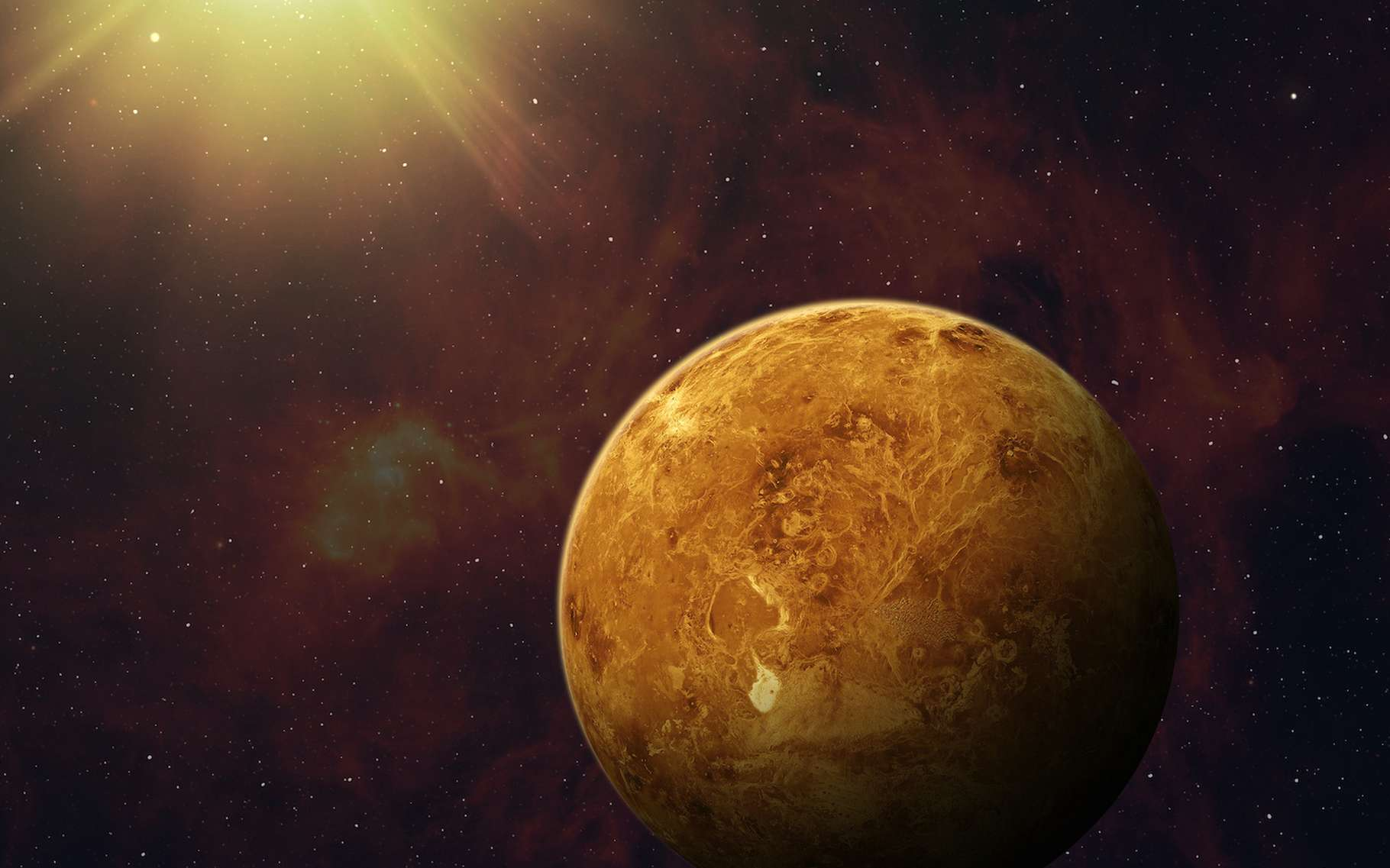 Deuxième planète la plus proche du Soleil, Vénus a aujourd'hui tendance à brûler sous la chaleur de notre Étoile. Mais en était-il de même par le passé ? A-t-elle pu suffisamment se rafraîchir pour former un océan ? « Non », répondent aujourd'hui des chercheurs du CNRS et de l'université de Versailles Saint-Quentin. © revers_jr, Adobe Stock