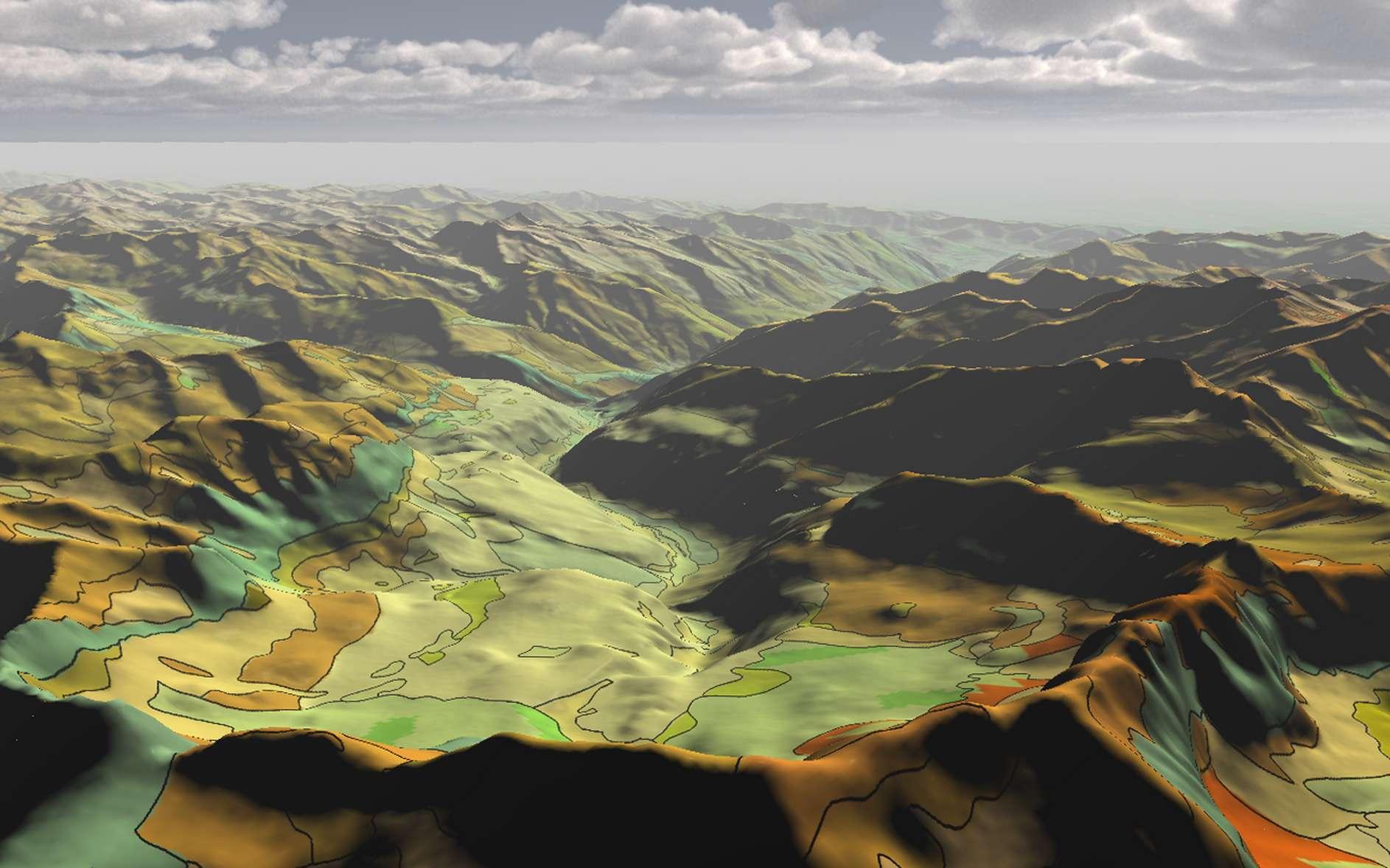 Le BRGM a développé une carte 3D des Pyrénées contenant des milliers d'informations sur la nature du sous-sol. © BRGM