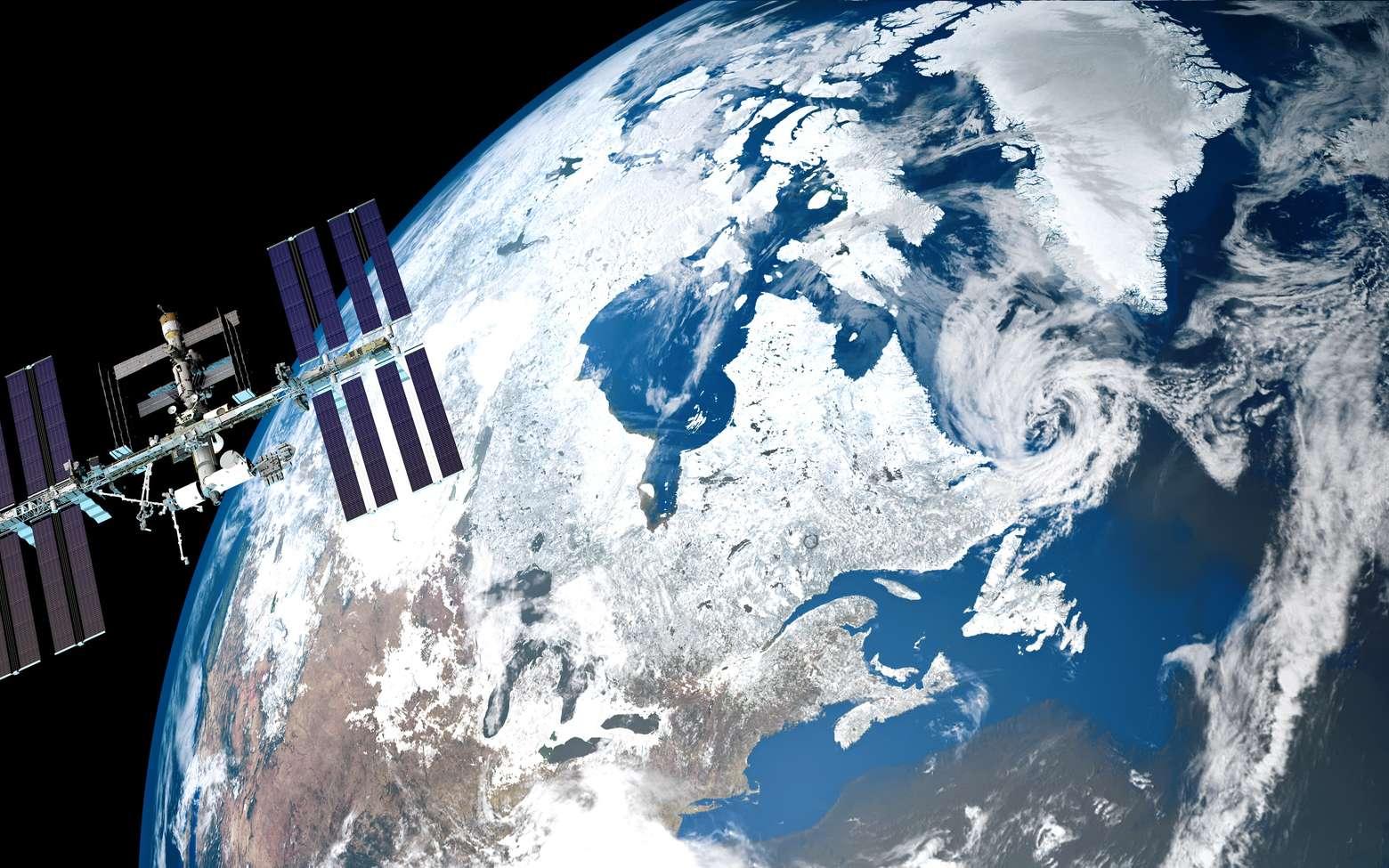 Le Canada sous la neige et la glace depuis l'espace, un photomontage avec l'ISS. © fotolia, Sasa Kadrijevic