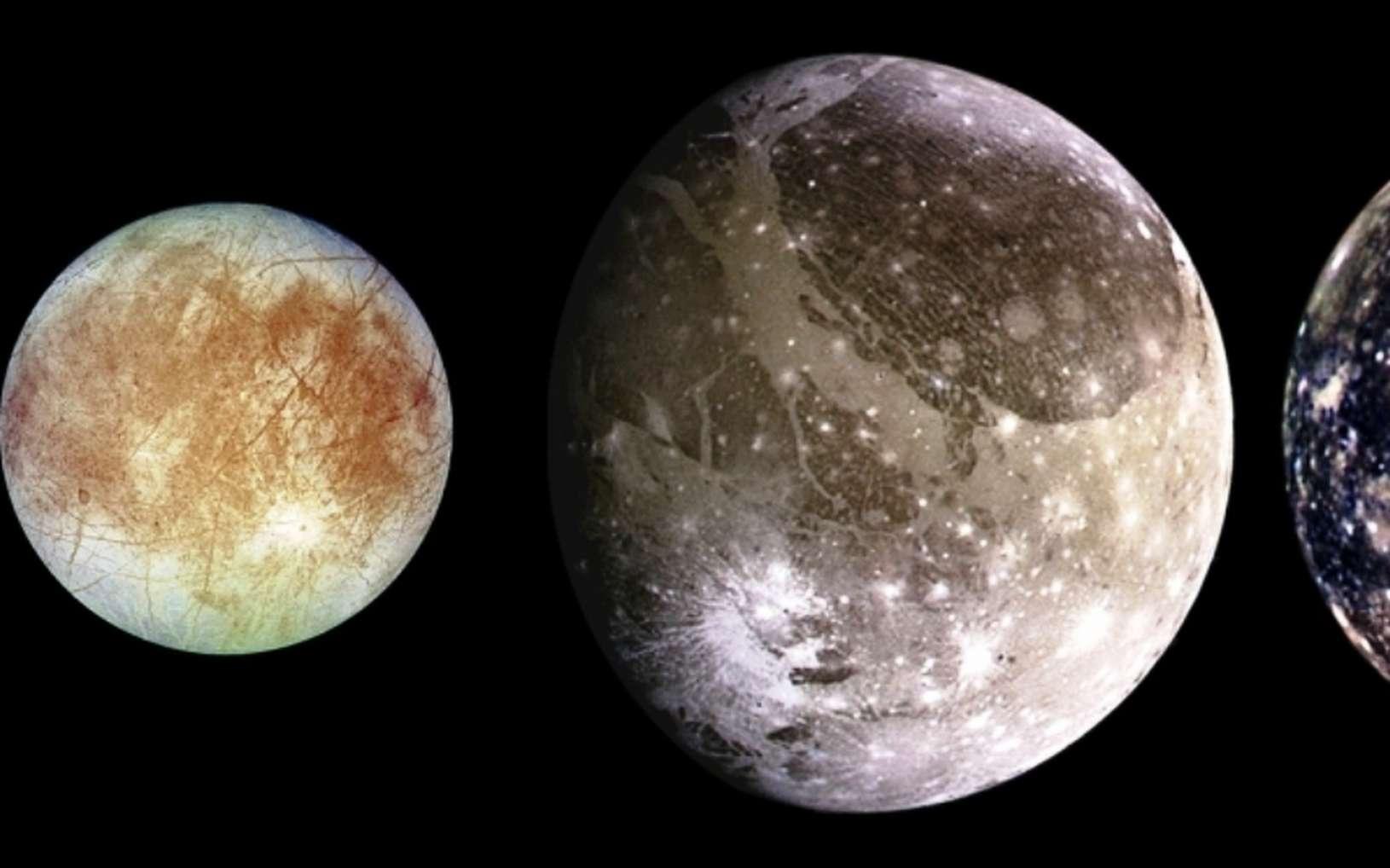 Les quatre plus grandes lunes de Jupiter par ordre de distance de Jupiter : Io, Europa, Ganymède et Callisto. Les tailles relatives sont montrées. © Nasa