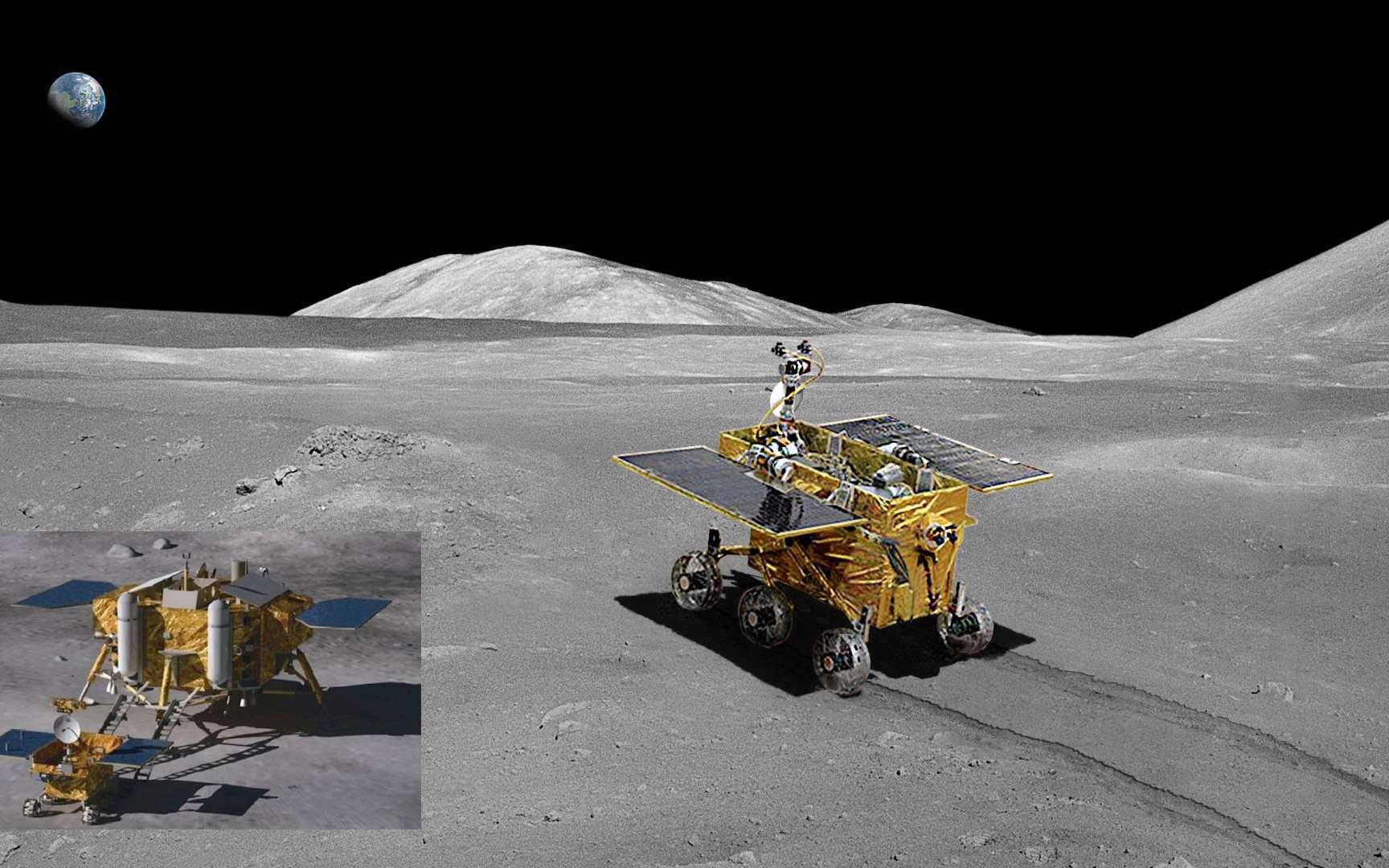 Vue d'artiste du rover Yutu et de l'atterrisseur qui le déposera sur la surface lunaire. L'atterrissage contrôlé est prévu pour le 14 décembre. © CNSA