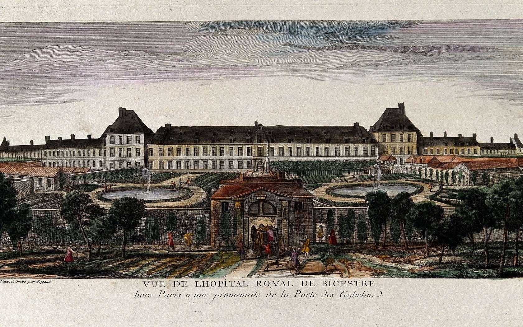 Hôpital royal de Bicêtre, porte des Gobelins à Paris, par Jacques Rigaud, XVIIIe siècle. © Wellcome Collection, Wikimedia Commons, domaine public