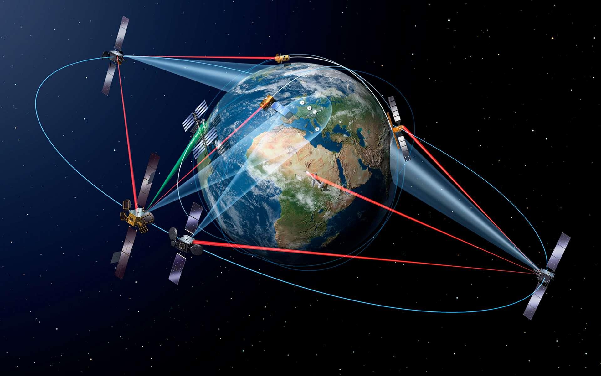 L'autoroute spatiale de la donnée, ou SpaceDataHighway, fonctionnera de la manière suivante : un terminal laser en orbite géostationnaire sera utilisé pour relayer vers la terre ferme des données acquises par un satellite en orbite basse. © ESA