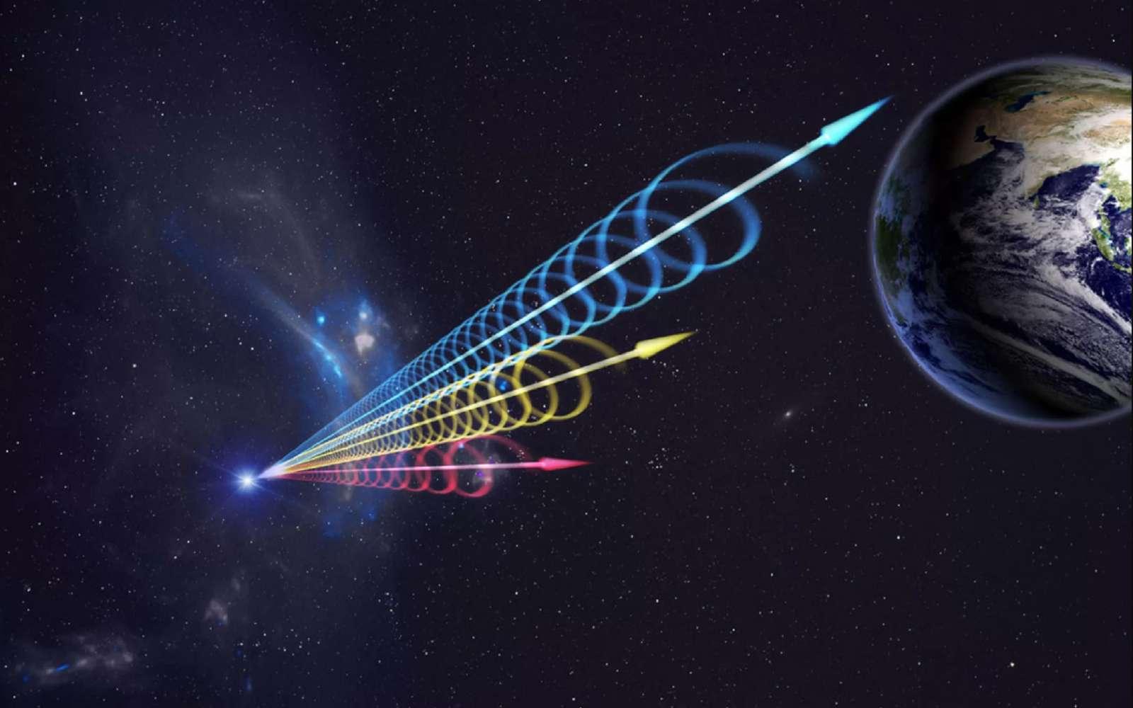 Illustration d'un sursaut radio rapide venu des confins de l'univers. © Beijing Planetarium