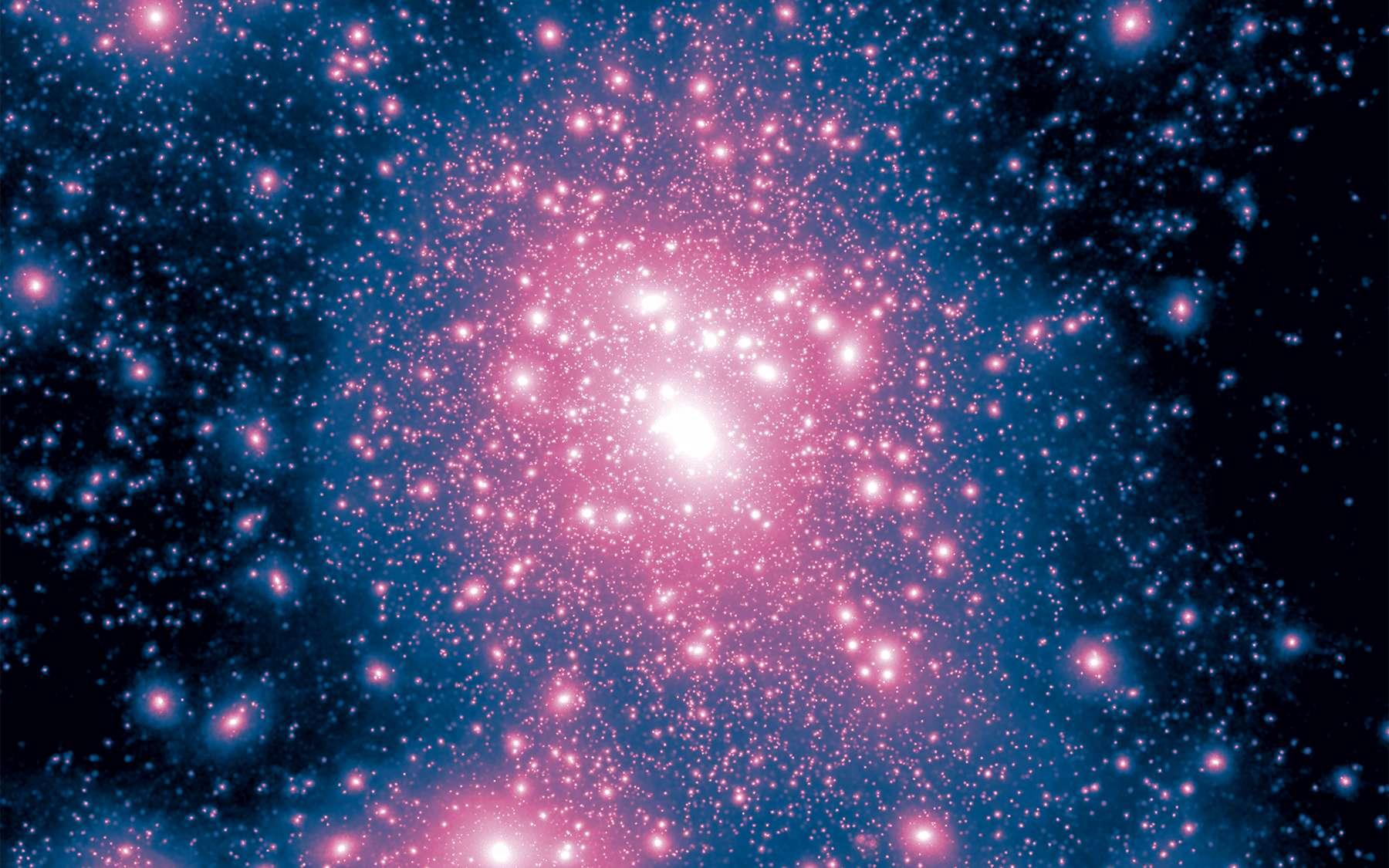 Deux chercheurs proposent un scénario pour expliquer la matière noire en se basant non seulement sur la physique des particules connue mais à partir d'une particule, un hexaquark. © Illustris Project