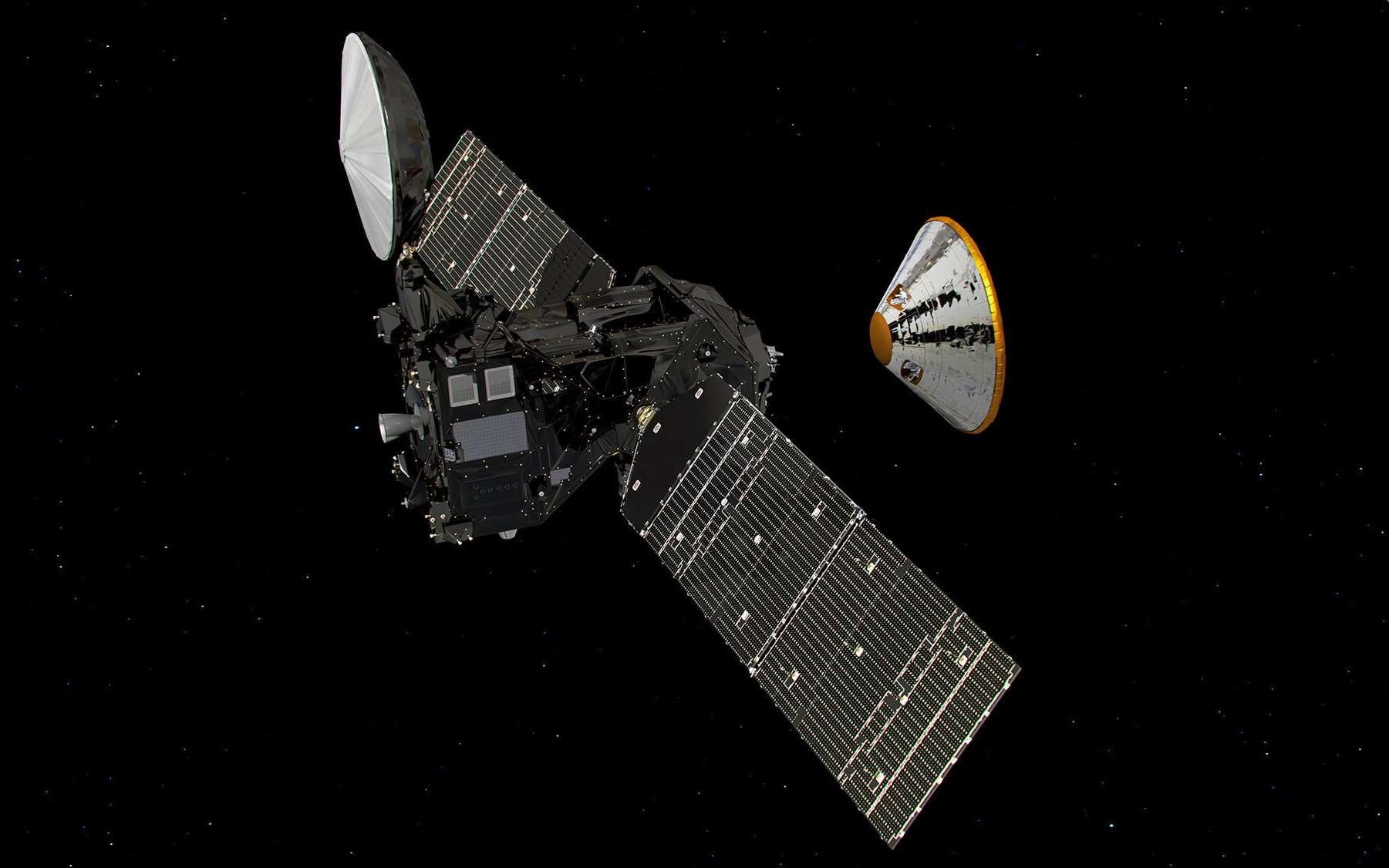 Représentation de la séparation entre l'orbiteur TGO et la capsule Schiaparelli à proximité de la planète Mars. © Esa, ATG Medialab