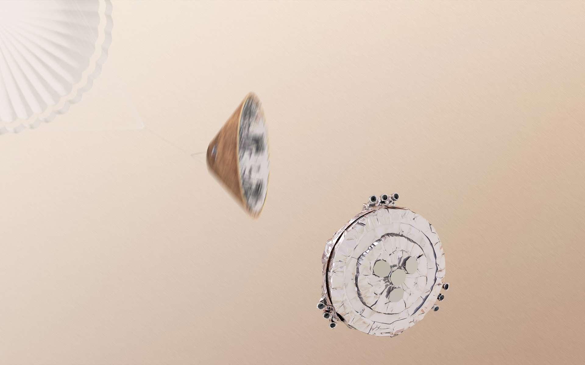 Sur les trois démonstrations prévues, Schiaparelli a raté l'atterrissage. Les phases d'entrée et de descente ont quant à elles été démontrées. © ESA, ATG medialab