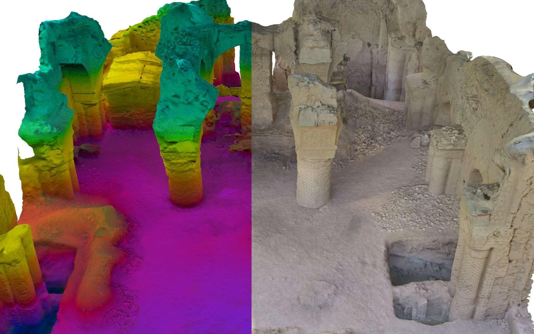 Une mosquée en photographie, à droite, et la version en réalité augmentée, à gauche, où les couleurs indiquent une hauteur. Les archéologues commencent à travailler avec ce genre de nouveaux outils. © Iconem