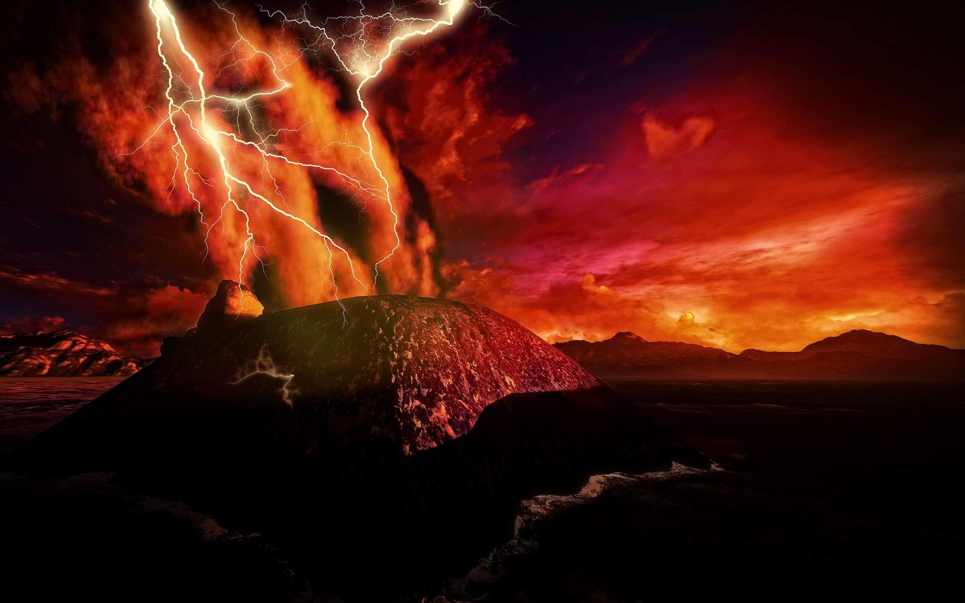 Olympus Mons est l'un des volcans de Mars. L'un des plus hauts reliefs du Système solaire. Mais ce n'est pas de lui que sont venues les milliers d'éruptions volcaniques explosives qui se sont produites sur la planète rouge pendant 500 millions d'années, il y a 4 milliards d'années. © satori, Adobe Stock
