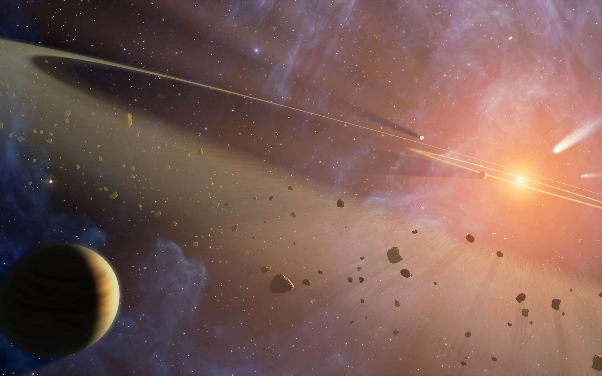 Cette vue d'artiste représente Epsilon Eridani, le système planétaire le plus proche du Système solaire. Il contiendrait notamment deux ceintures d'astéroïdes. © Nasa, JPL-Caltech