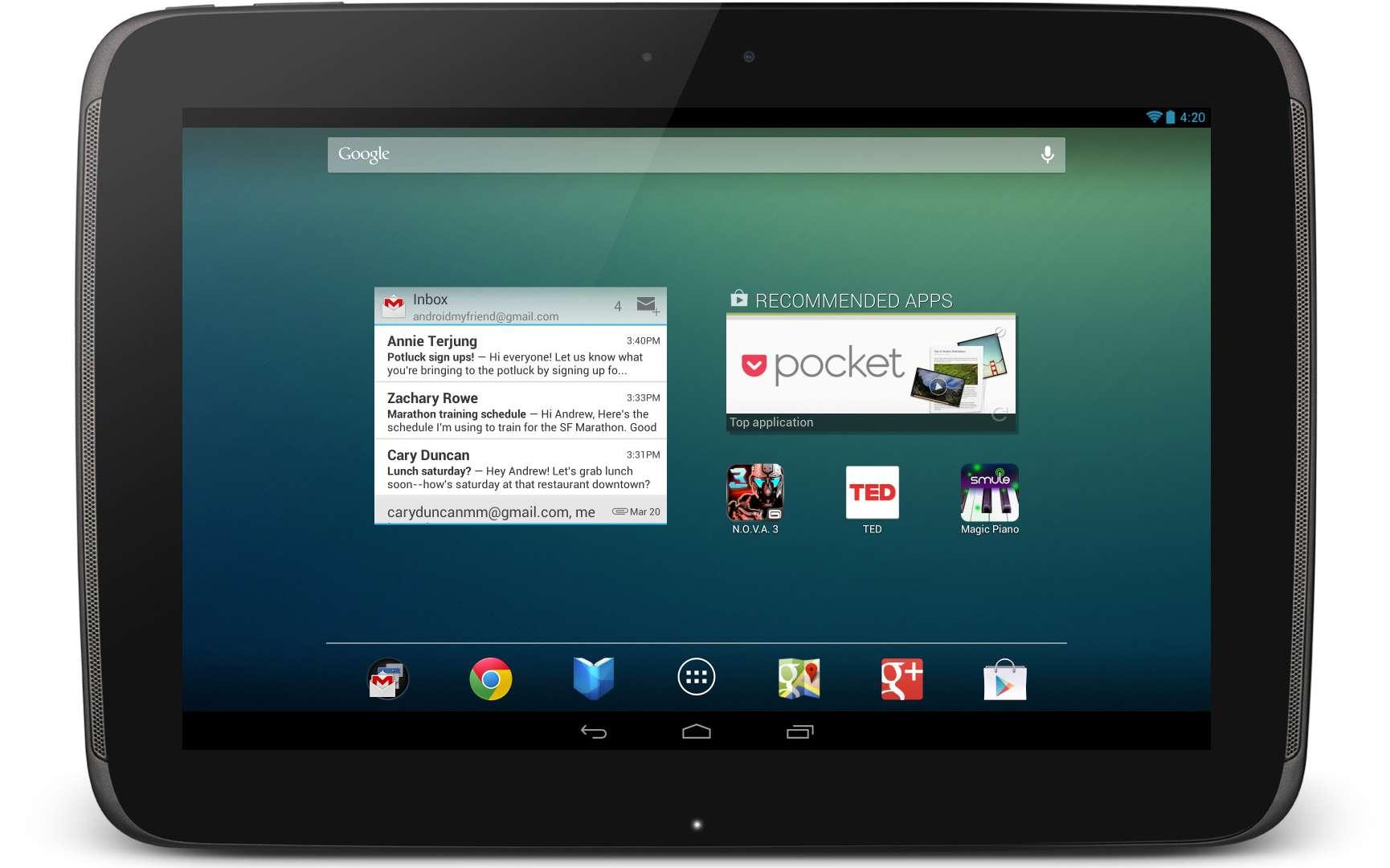 La tablette 10 pouces avec laquelle Google s'attaque à l'iPad et à la déferlante de tablettes Windows RT et Windows 8 que l'on devrait voir arriver d'ici la fin de l'année. © Google