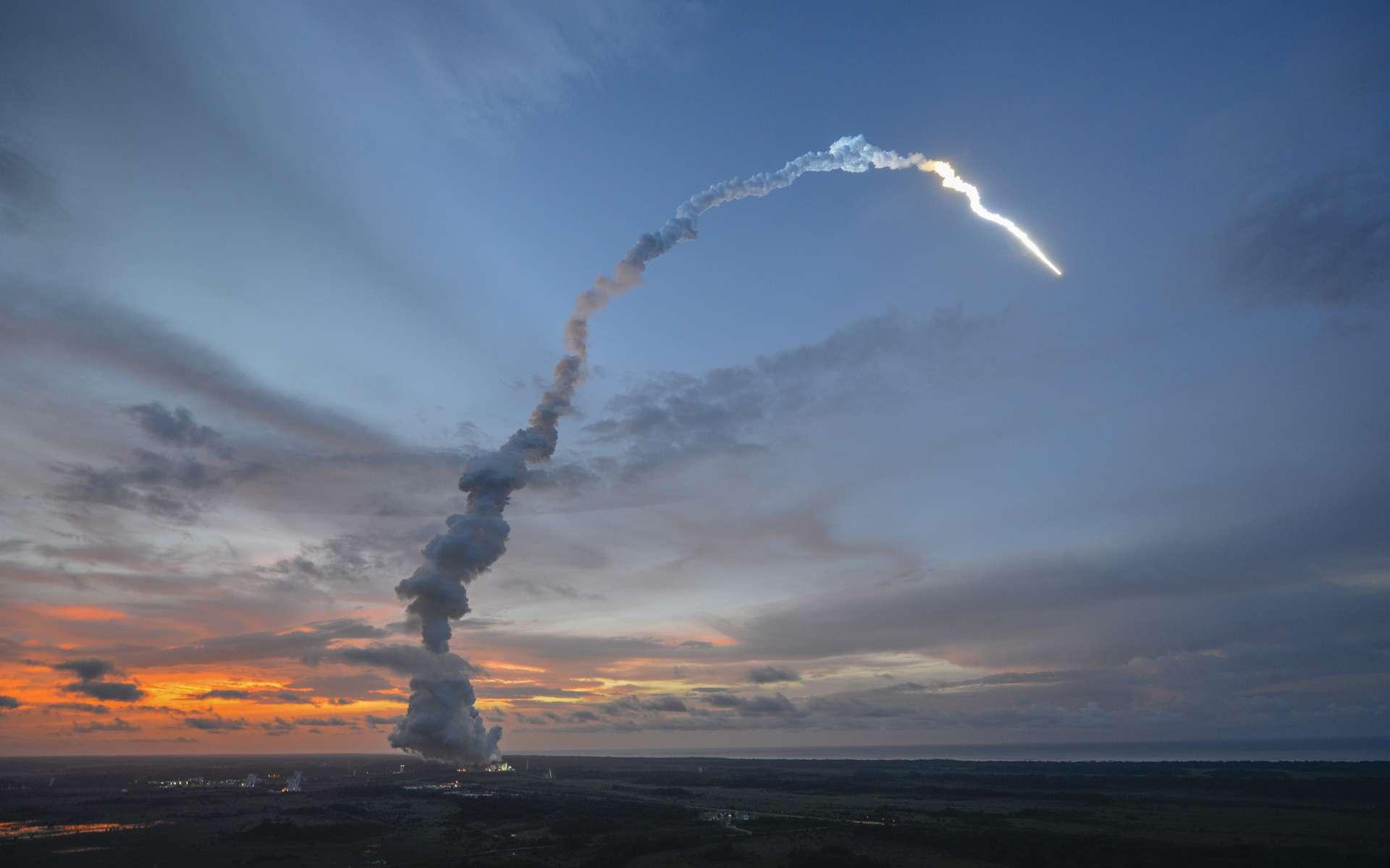 Le lancement ce soir, depuis l'Ensemble de lancement Ariane n°3 (ELA 3) à Kourou, sera le 215e pour une Ariane, toutes familles confondues, et le 71e pour une Ariane 5. Pour le décompte de l'année 2013, il viendra en numéro 4 pour une 5 ECA et en position 5 pour une Ariane, une 5 ES ayant lancé vers l'ISS l'ATV-4 Albert Einstein en juin dernier. © Esa, S. Corvaja