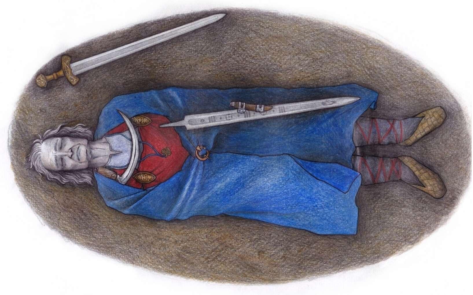 Vue d'artiste de l'individu au cours de l'inhumation. D'après son sexe chromosomique, il aurait pu avoir des traits physiques féminins (poitrine développée) et masculins (organes génitaux). © Moilanen et al, 2021