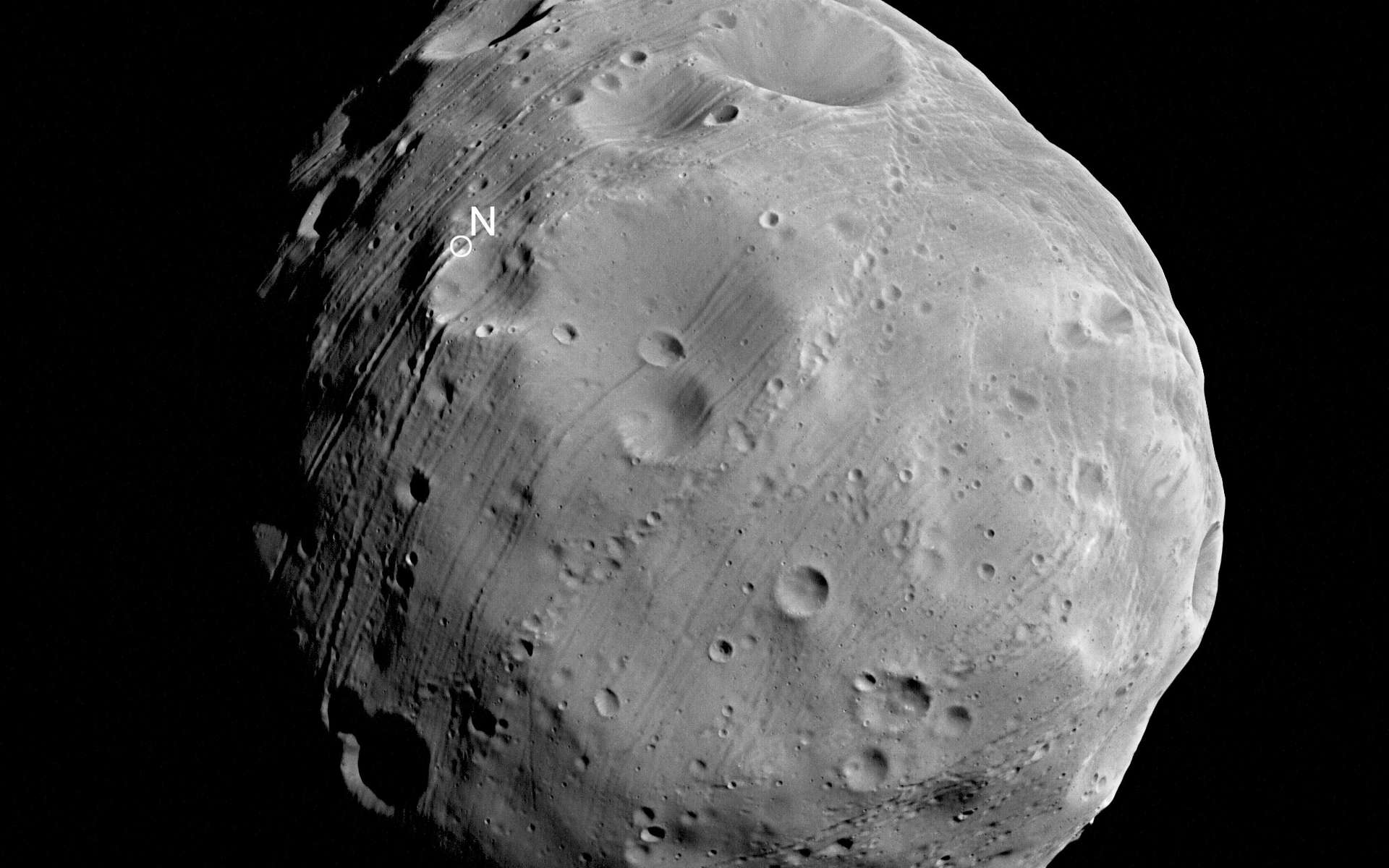 Phobos ressemble aux météorites à chondrites carbonées que l'on sait provenir des régions les plus éloignées de la ceinture d'astéroïdes. Ce qui laisse à penser qu'il ne s'est pas formé en même temps que Mars ni à partir des mêmes matériaux. Crédits Esa / DLR/ FU Berlin (G. Neukum)