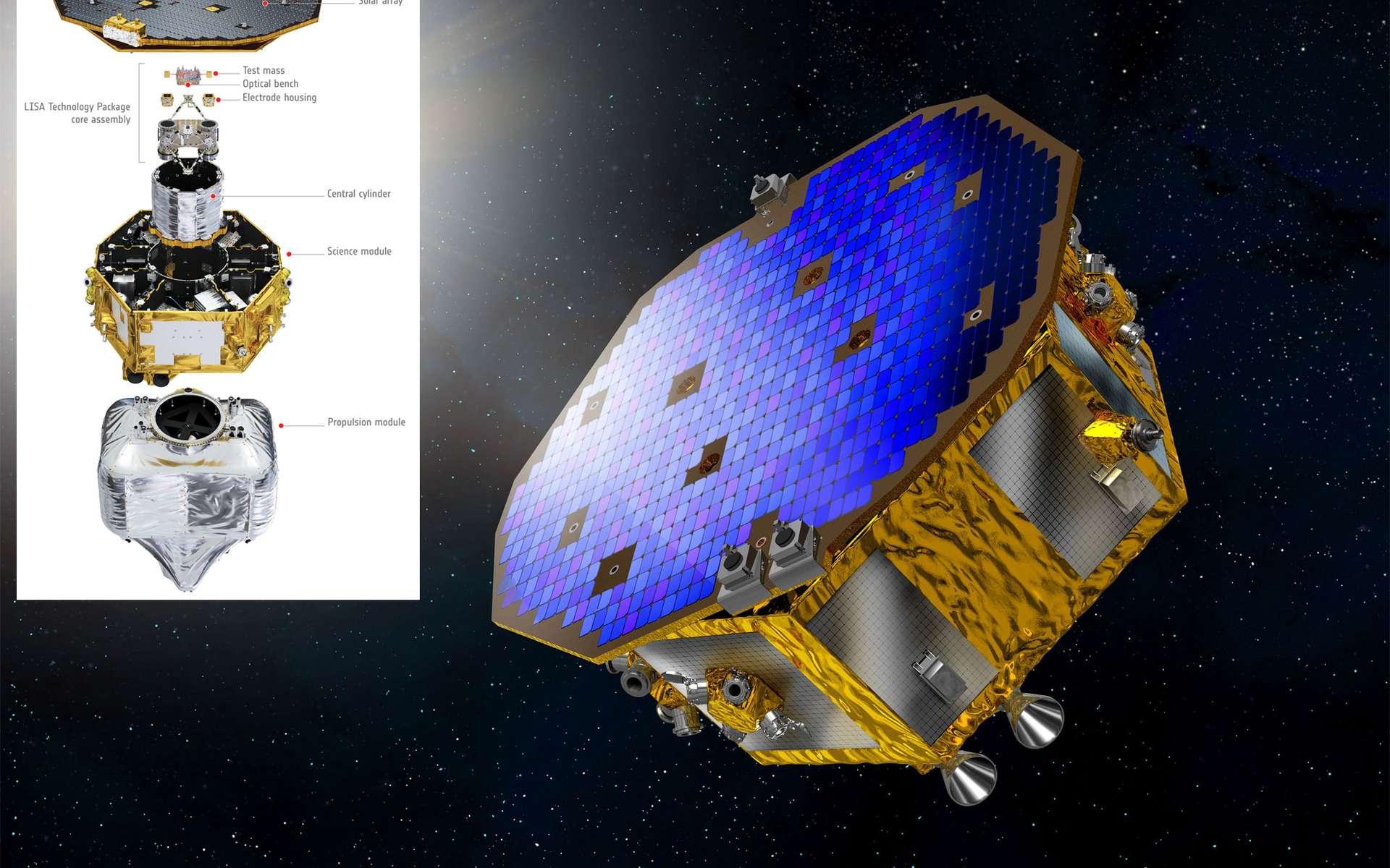 De forme cylindrique et doté d'un panneau solaire hexagonal, le satellite Lisa Pathfinder est large de 2,3 m pour une hauteur d'un mètre et pèse environ 500 kg (mais 1,9 tonne avec le module propulsif). C'est un démonstrateur qui prépare l'ambitieuse mission eLisa, qui comprendra trois engins séparés d'un million de kilomètres. © Esa