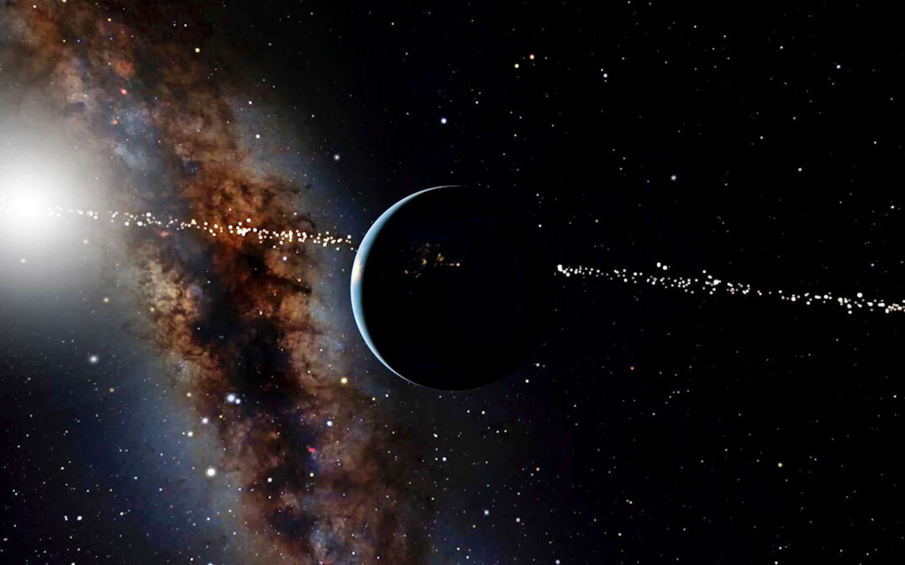 Des chercheurs de l'université Cornell (États-Unis) et du Muséum américain d'histoire naturelle ont identifié des étoiles qui entrent et sortent d'une position depuis laquelle elles peuvent voir la Terre comme une planète en transit autour de notre Soleil. © OpenSpace, Musée américain d'histoire naturelle