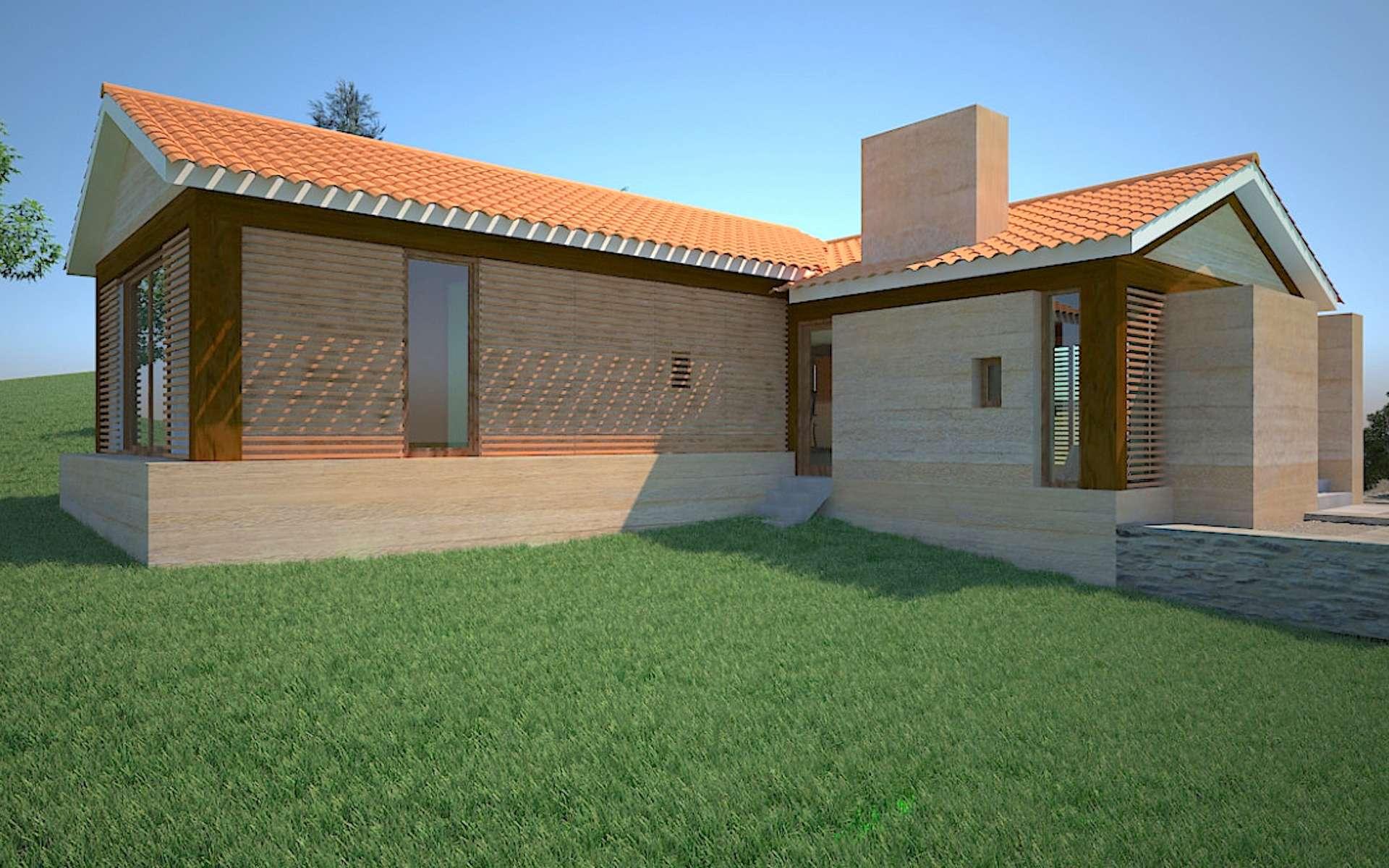 Maison neuve en pisé de 125 m2, conçue selon les standards de l'efficacité énergétique. © archidvisor.com