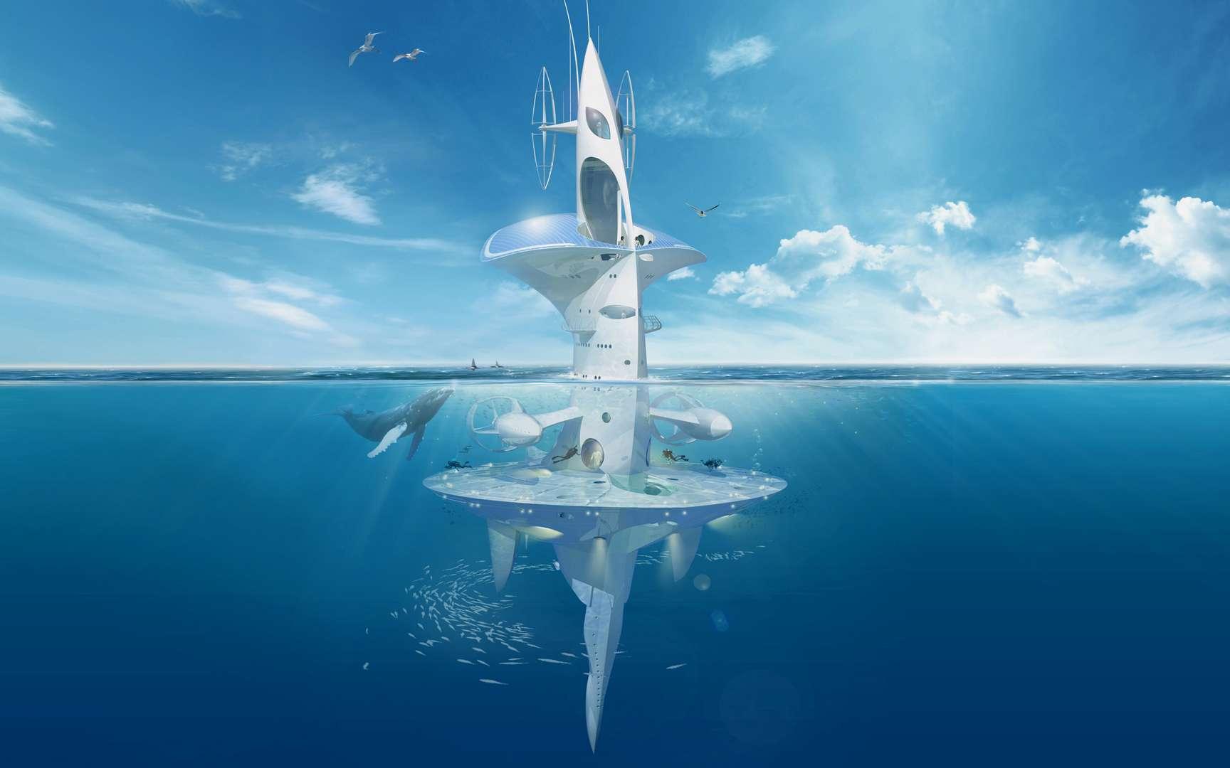 Sea Orbiter, le navire pour les océanographes. Navire dérivant, Sea Orbiter est un bâtiment océanographique permettant l'installation à bord d'équipes d'océanographes pour de longues durées, ce que ne permettent pas les bateaux classiques. Sous le niveau de la mer, les plongeurs, ainsi que des submersibles, peuvent aller et venir sans devoir passer par la surface. Des éoliennes et des panneaux photovoltaïques assurent une partie de l'alimentation électrique. © Jacques Rougerie