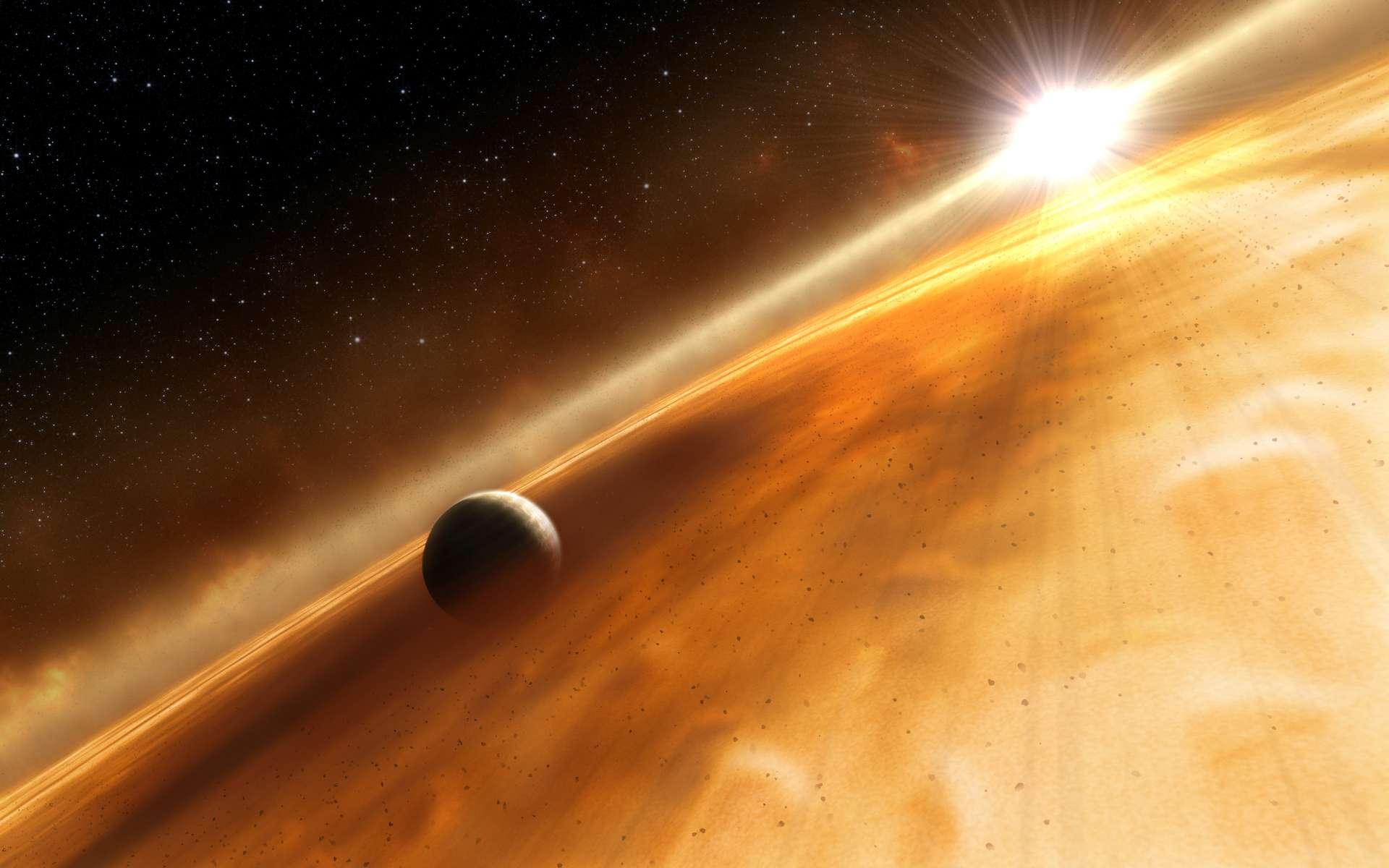 Vue d'artiste de la présumée exoplanète Fomalhaut b. © ESA, Nasa, L. Calcada