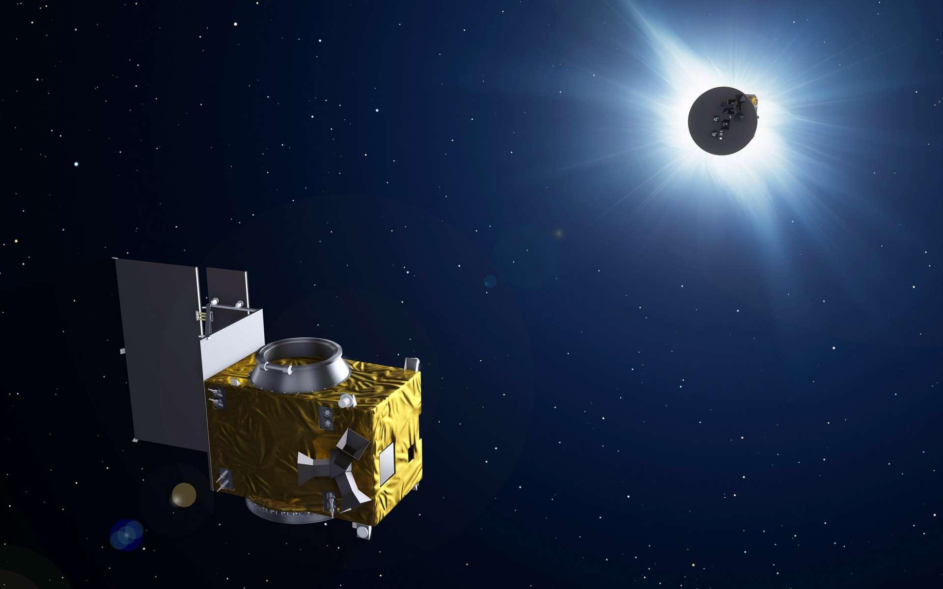 Proba-3 n'est pas seulement une mission de démonstration de technologies nouvelles. Les deux satellites qui la composent vont provoquer des éclipses solaires de façon à observer l'atmosphère extérieure du Soleil. © ESA, P. Carril