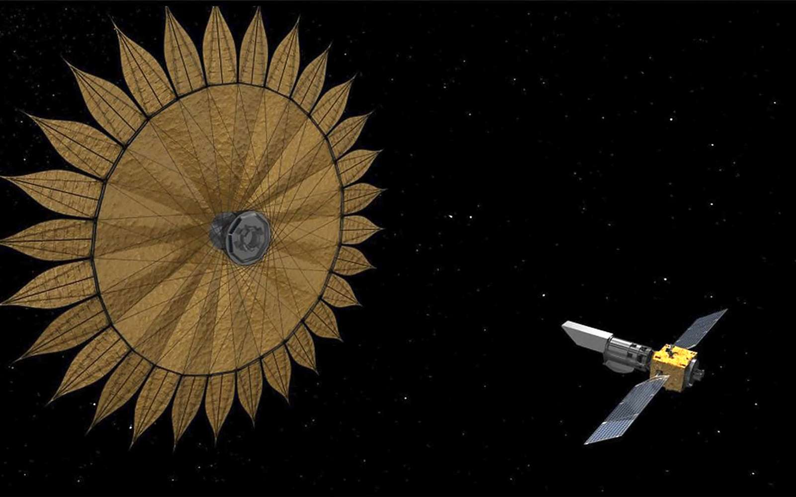 Concept à l'étude pour la mission Habex avec un gigantesque occulteur en forme de pétale (starshade) pour bloquer la lumière parasite des étoiles. © Nasa, JPL
