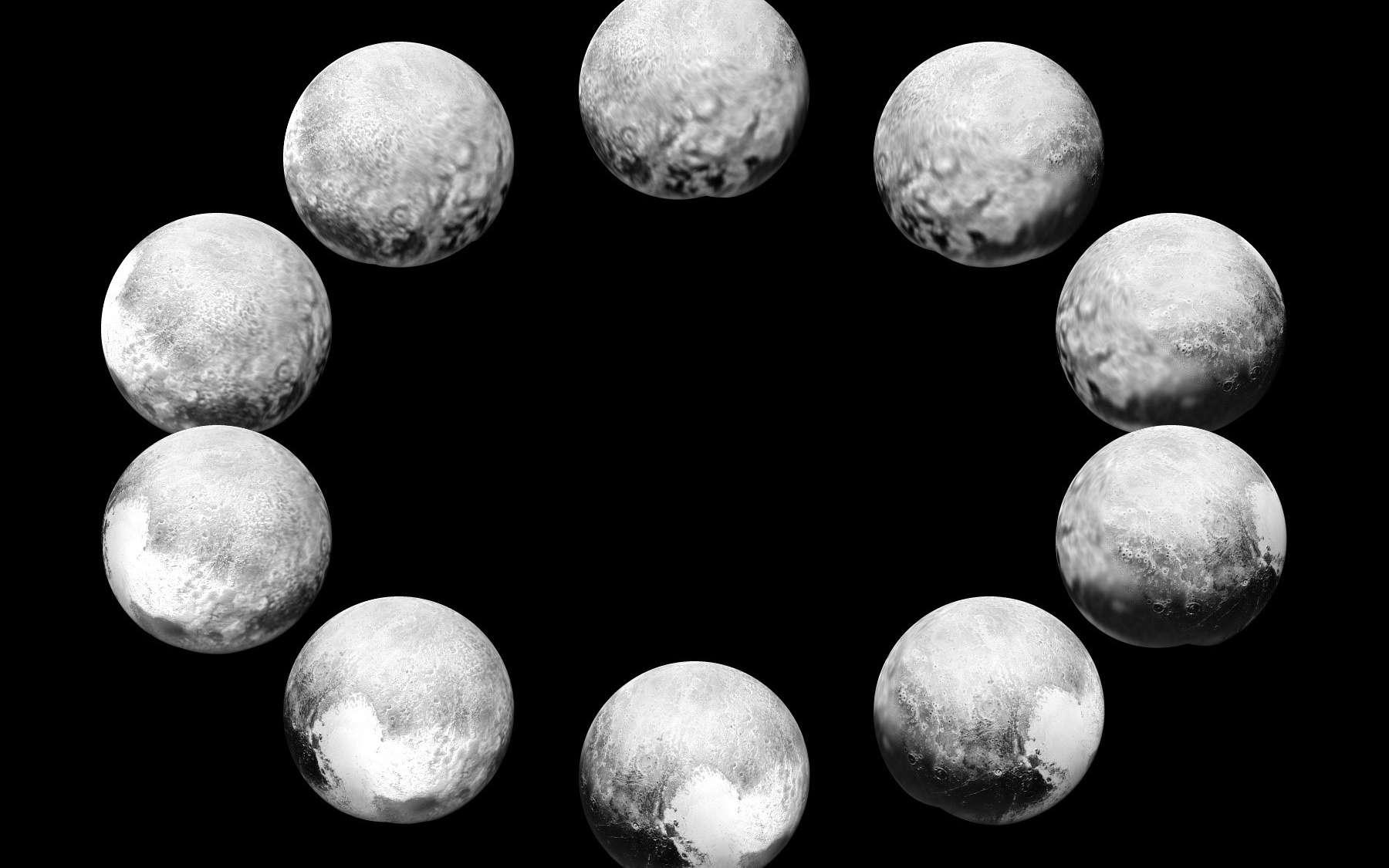 Une rotation complète de Pluton, un jour plutonien, soit 6,4 jours. À mesure que New Horizons se rapproche, la résolution s'améliore. Seulement de passage, la sonde a survolé au plus près, le 14 juillet, la tache claire en forme de cœur : Tombaugh regio visible ici en bas du cadran. L'image composite à 3 h a été prise le 7 juillet à 8 millions de km et celle à 6 h, correspondant à l'« hémisphère de rencontre », le 14 juillet. © Nasa, JHUAPL, SwRI