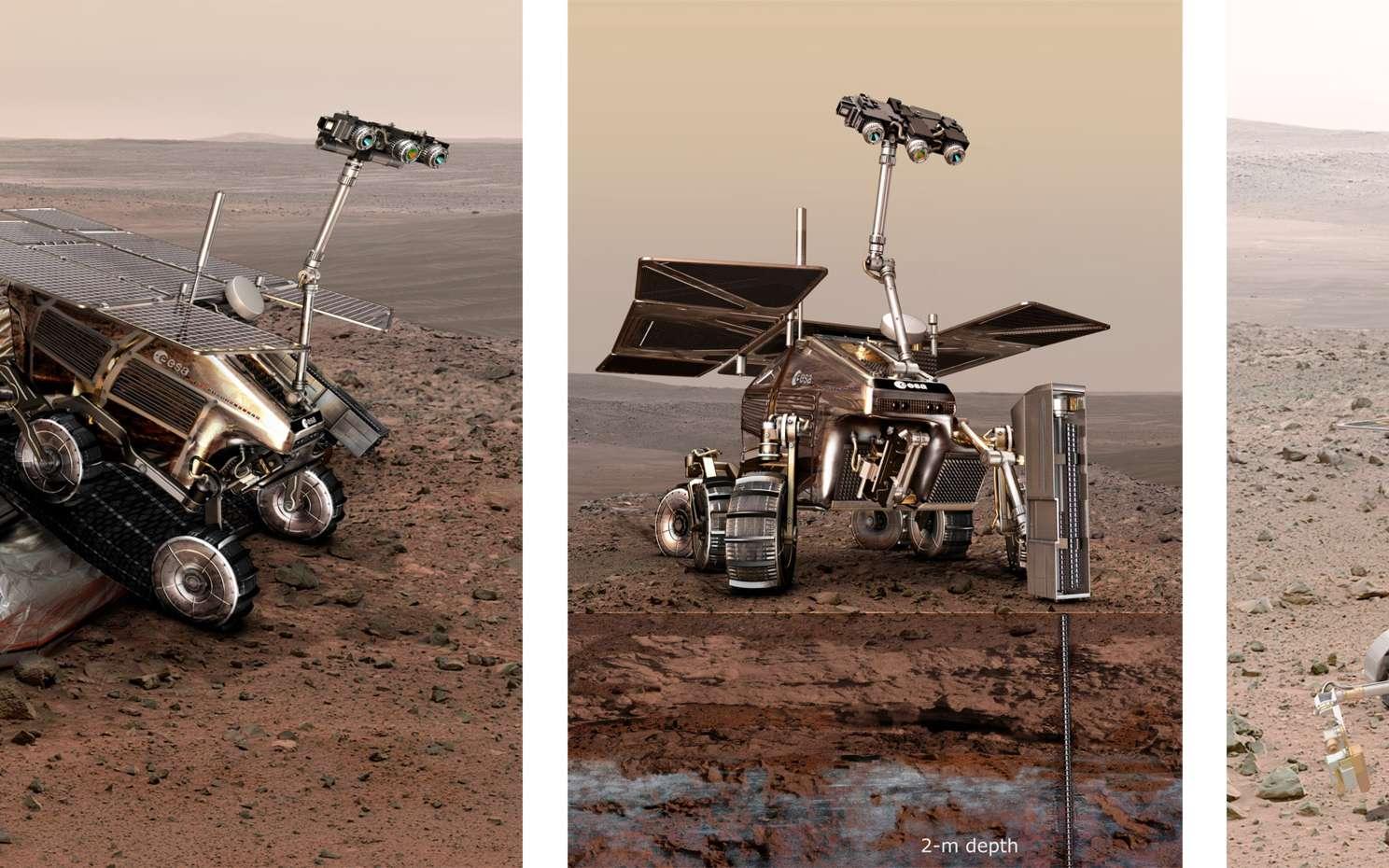 Deux concepts exploratoires du rover ExoMars 2018. L'image de gauche montre le concept actuellement à l'étude. Celui de droite date des années 2005, aujourd'hui abandonné. © Esa