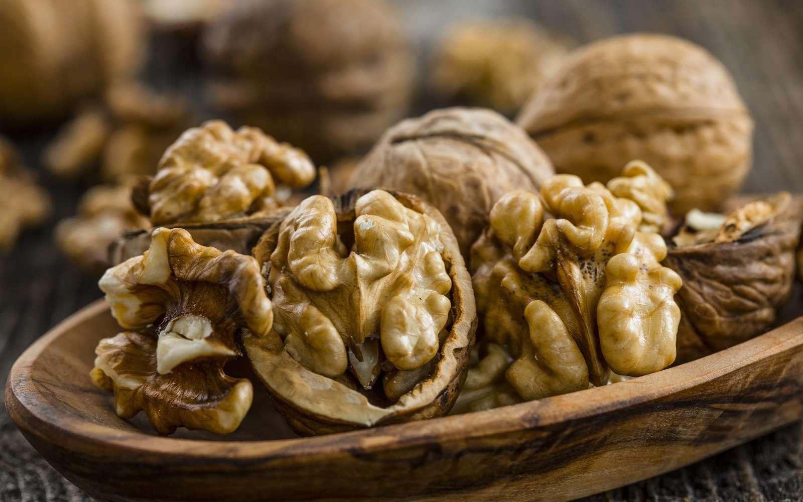 La noix est un fruit comestible à coque, ses cerneaux peuvent être mangés frais ou secs. © Ivan, Adobe stock
