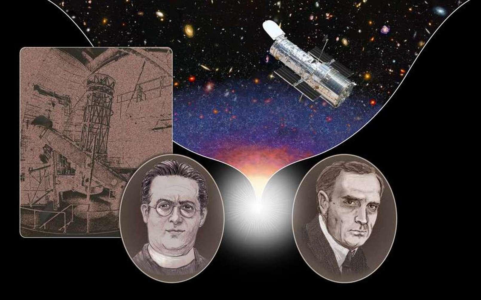 Cette illustration montre Edwin Hubble (1889-1953), à droite, et Georges Lemaître (1894-1966), à gauche. Le télescope sur la gauche est le télescope Hooker du mont Wilson en Californie. Le télescope spatial Hubble est sur la droite. © Nasa, Esa, A. Feild