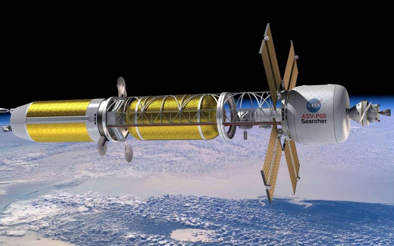 Une vue d'artiste d'une mission utilisant la propulsion nucléaire thermique. © Nasa, Marshall Space Flight Center