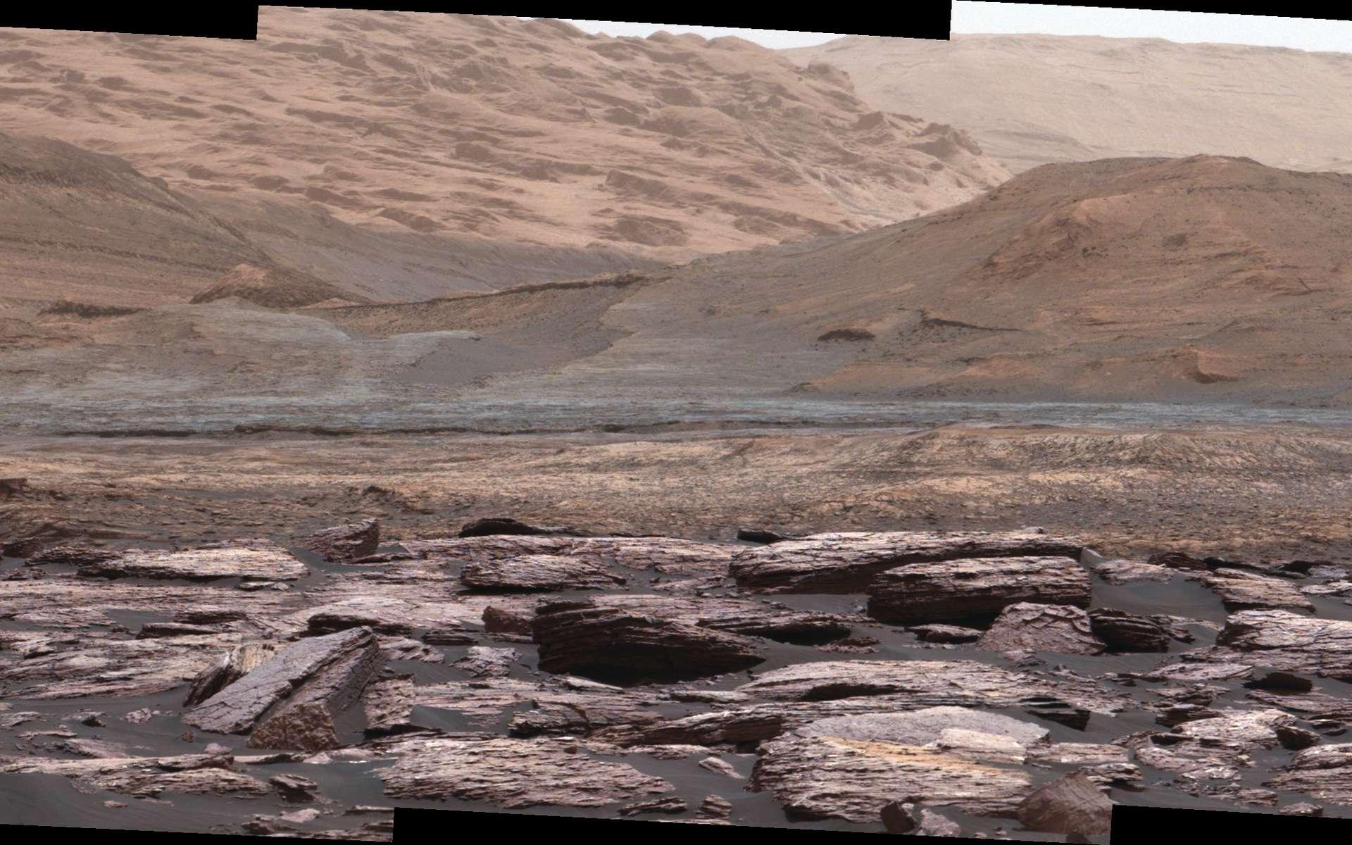 Extrait d'une vue panoramique créée à partir d'images pris la caméra du mât de Curiosity lors du Sol 1520. Les teintes pourpres des roches au premier-plan indiquent la présence d'hématite. À l'arrière-plan, les collines contenant davantage sulfates sont la prochaine destination du rover. © Nasa, JPL-Caltech, MSSS