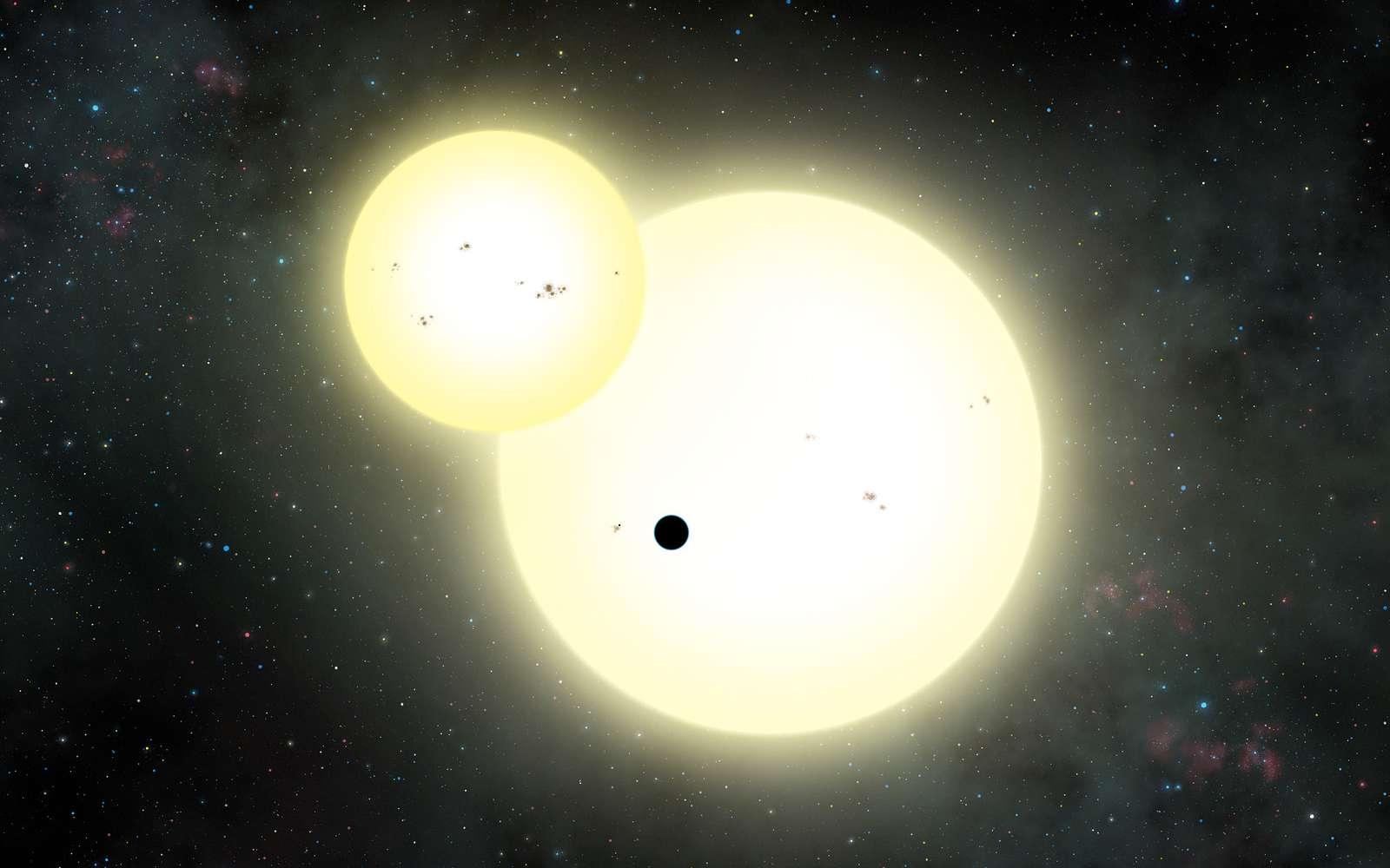 Illustration du transit de Kepler-1647b (silhouette sombre), cette grande Tatooine, devant ses deux soleils. © Lynette Cook