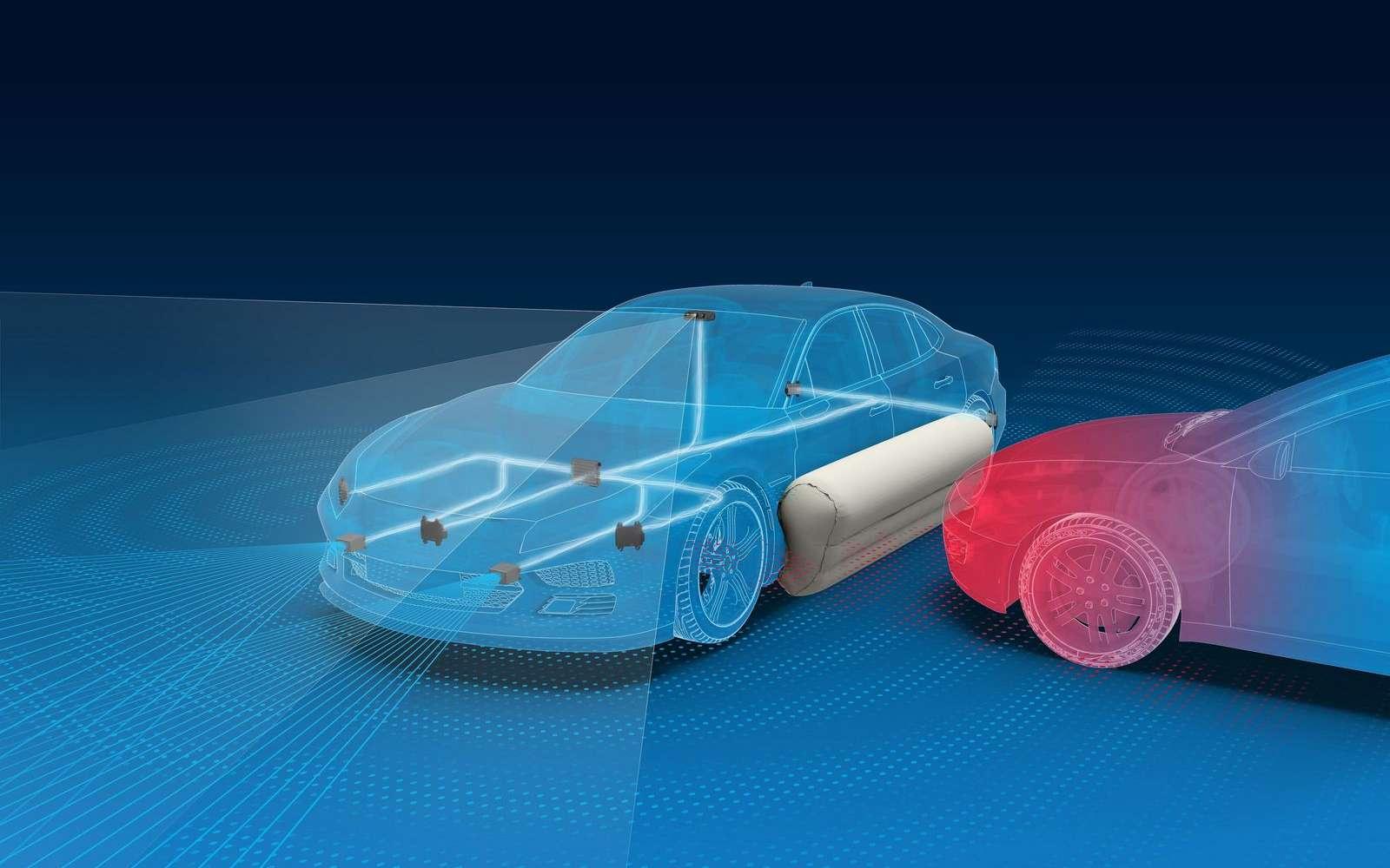 Le concept d'airbag externe latéral, selon ZF. © ZF