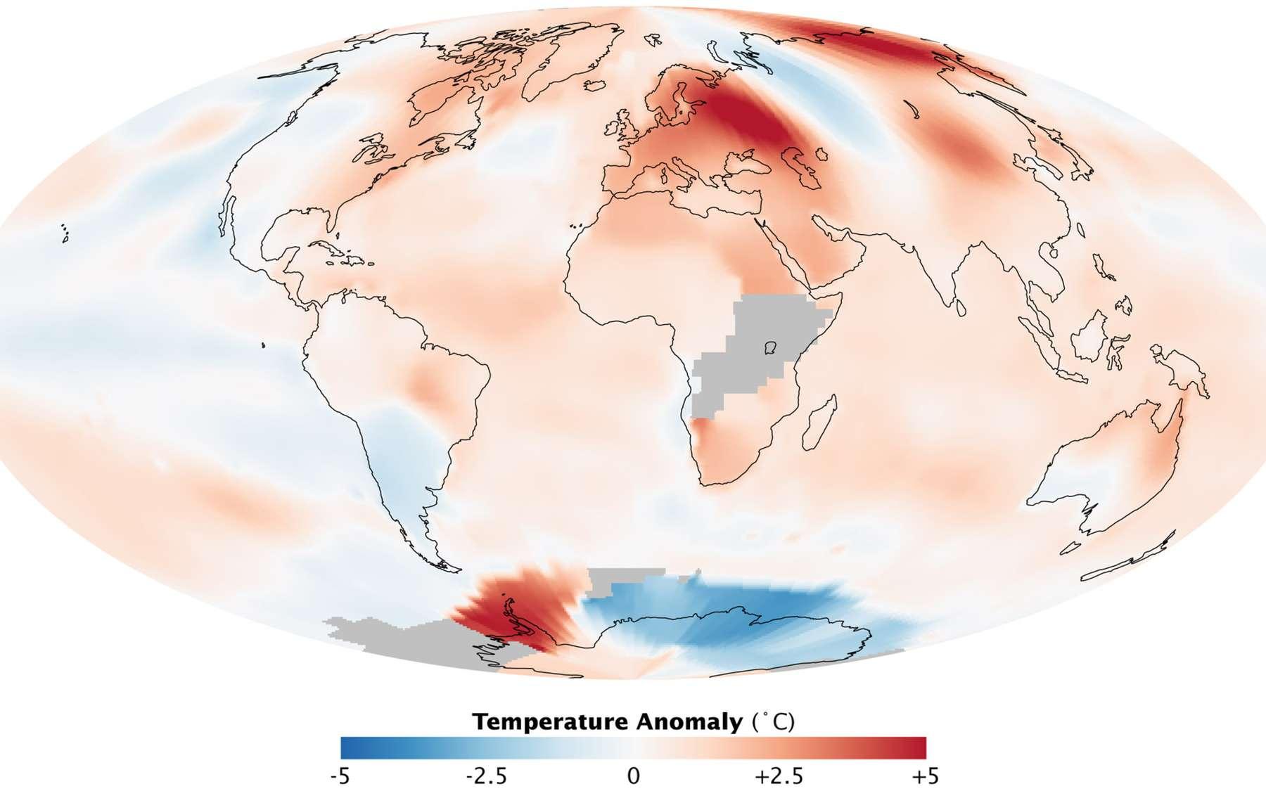 Carte mondiale des températures de surface pour le mois de juillet 2010. Crédits Nasa & Robert Simmon / GISS