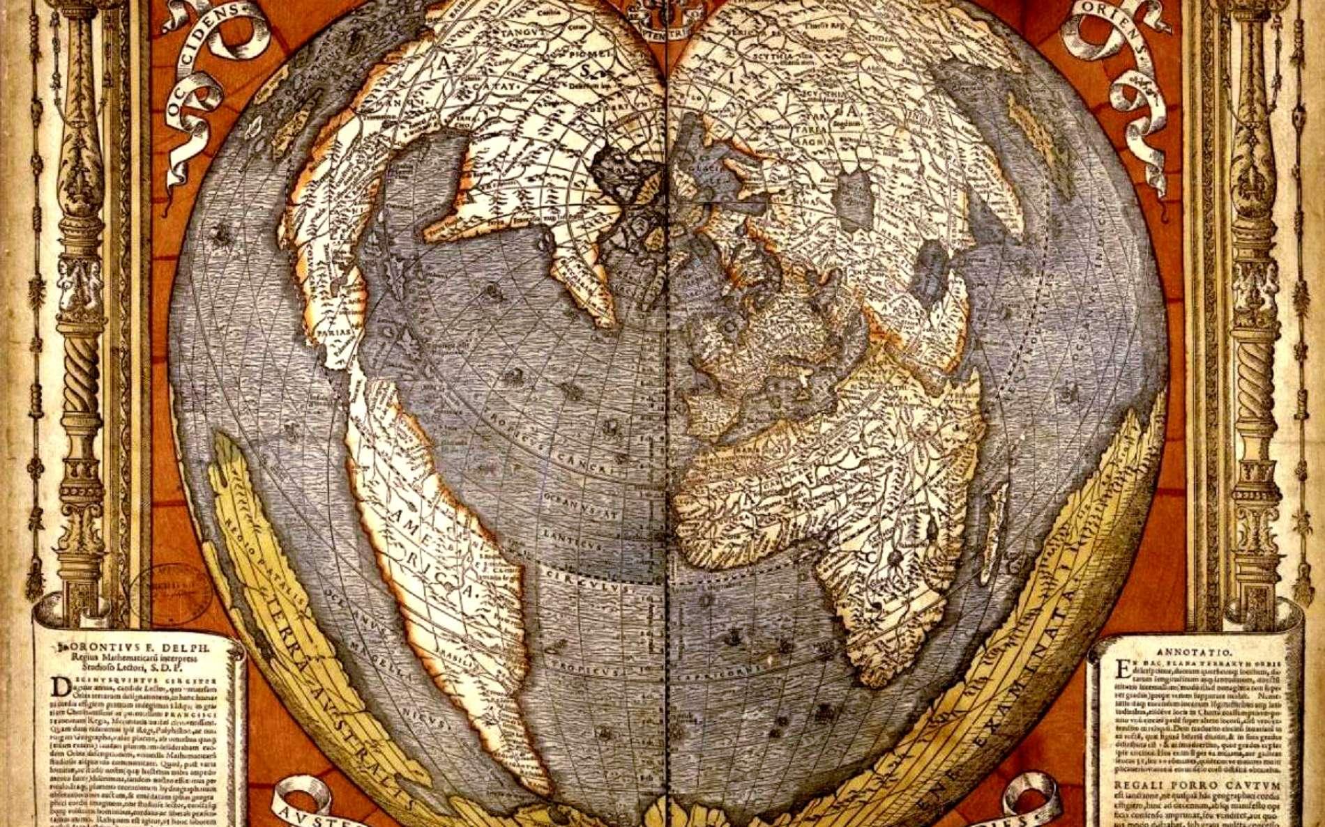 Mappemonde en forme de cœur montrant l'étendue supposée de la Terre Australe inconnue ; carte gravée sur bois et aquarellée, par Oronce Fine en 1536. © Bibliothèque nationale de France, domaine public.