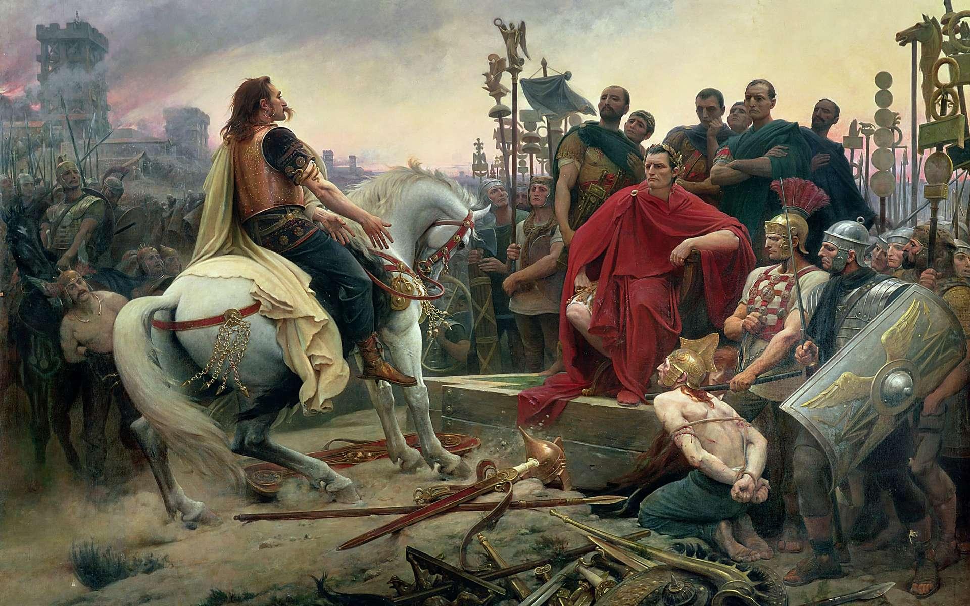 Pourquoi Vercingétorix a-t-il perdu la bataille d'Alésia ? Ici, Vercingétorix jette ses armes aux pieds de César, un tableau de Lionel Royer achevé en 1899. © Musée Crozatier du Puy-en-Velay, DP
