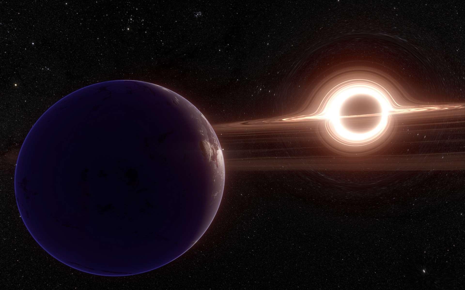 Des chercheurs japonais estiment que des « blanètes », semblables à nos planètes, peuvent orbiter au large de trous noirs supermassifs. © PatinyaS., Adobe Stock