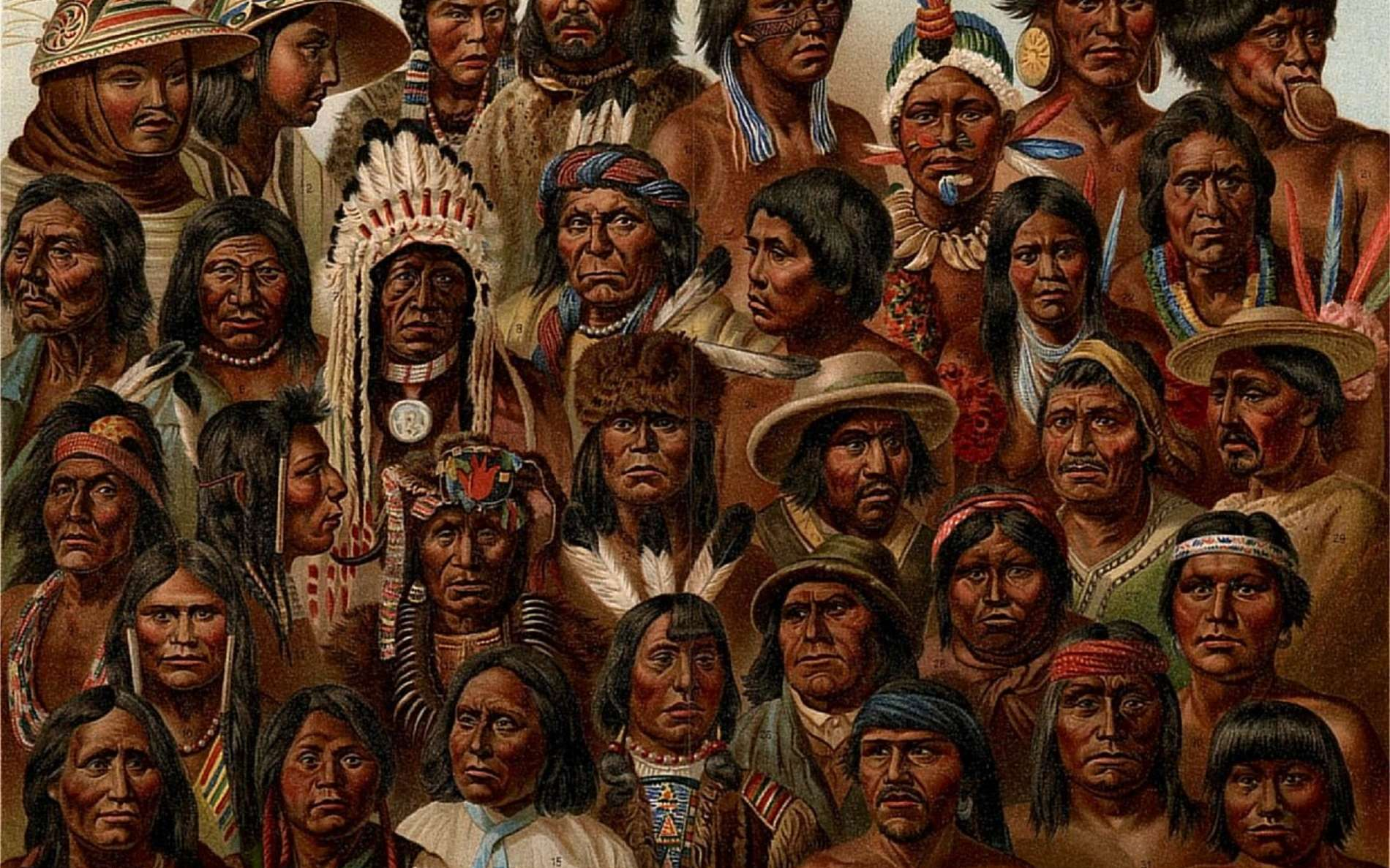 Tableau de portraits d'Amérindiens ''Peuples autochtones d'Amérique'', vers 1885. Photo G. Mützel. © Wikimedia Commons, domaine public.