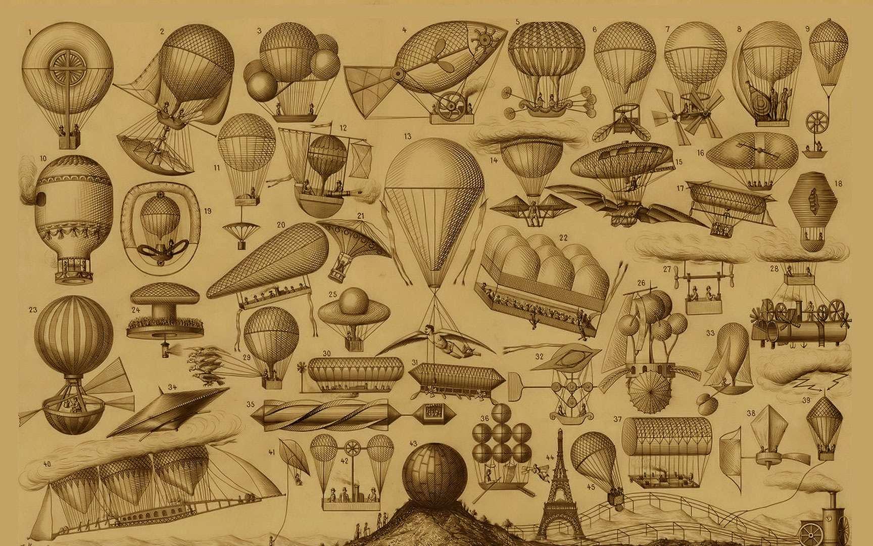 L'ornithoptère de Thomas Edison. Le terme « ornithoptère » désigne une machine qui imite le battement d'aile des oiseaux. Autrement dit, ce sont des machines qui peuvent voler à la seule force musculaire humaine. Bien que très joli, ce dessin attribué à Thomas Edison n'est pas vraiment réaliste. Léonard de Vinci a également travaillé sur de nombreuses machines volantes de ce genre. Aucune n'est parvenue à décoller. © Illustration d'après le Daily Graphic