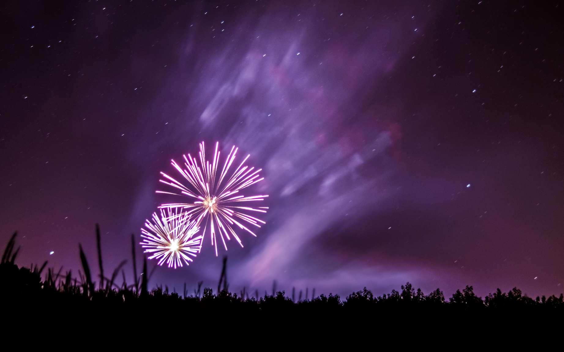 Exposés à une flamme, les sels de potassium deviennent violets. Ils sont utilisés dans les feux d'artifice. © Nacho Rascon, Flickr, CC by-nc-nd 2.0