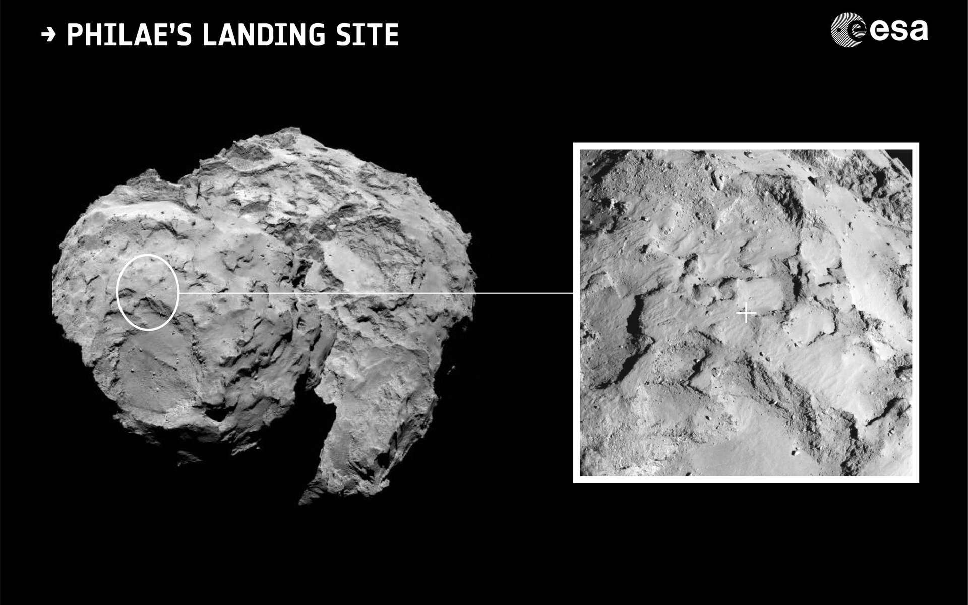 Emplacement du site d'atterrissage de Philae sur la comète 67P/Churyumov-Gerasimenko. © Esa/Rosetta/MPS for OSIRIS Team MPS/UPD/LAM/IAA/SSO/INTA/UPM/DASP/IDA
