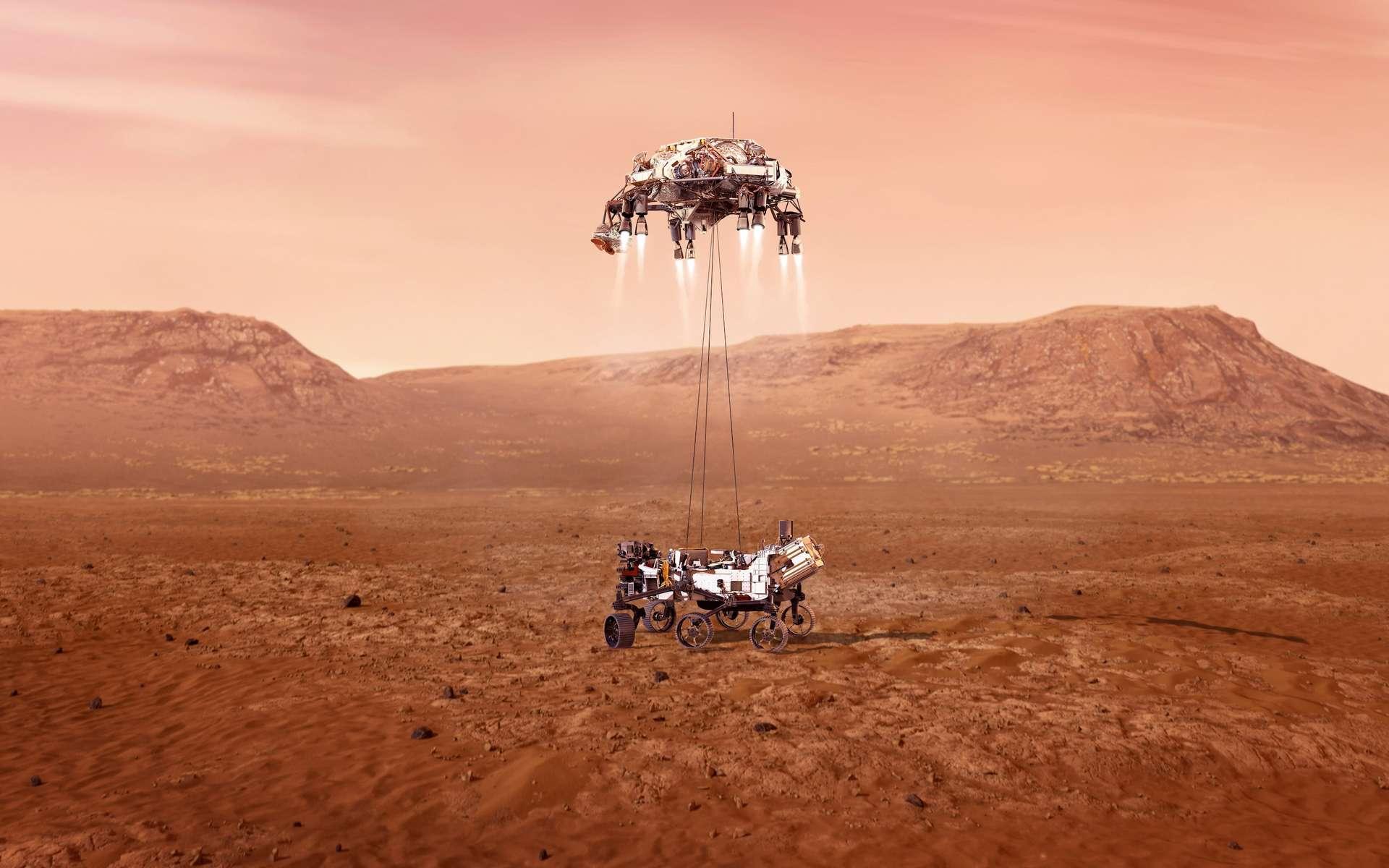 Perseverance, le rover de la Nasa, lors de sa descente vers Mars. © JPL-Caltech, Nasa