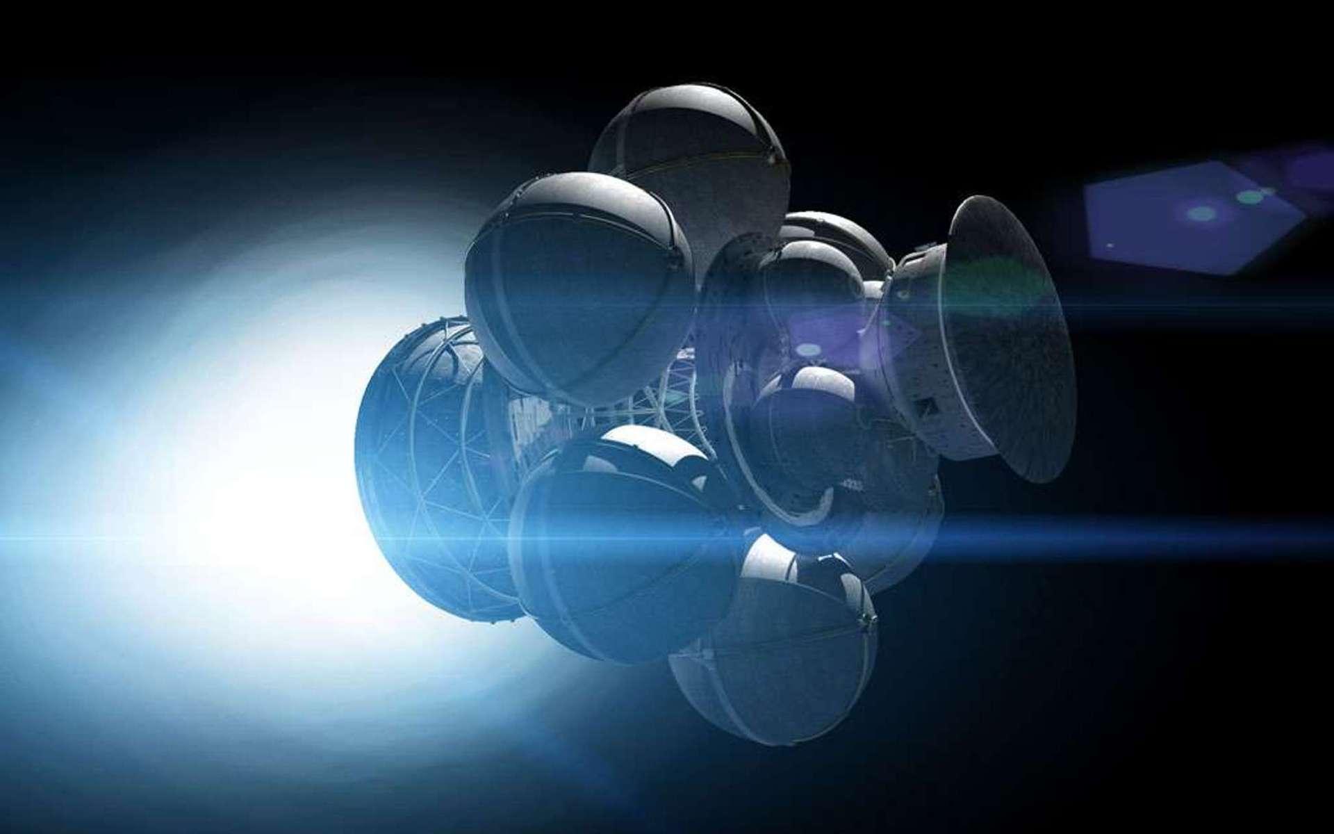 Pendant les années 1970, des membres éclairés de la British Interplanetary Society (BIS) ont étudié le concept d'un vaisseau spatial capable d'atteindre 12 % de la vitesse de la lumière. Le projet Daedalus se basait sur l'utilisation d'explosions thermonucléaires à intervalles réguliers pour atteindre cette performance. © Adrian Mann, Bisbos.com